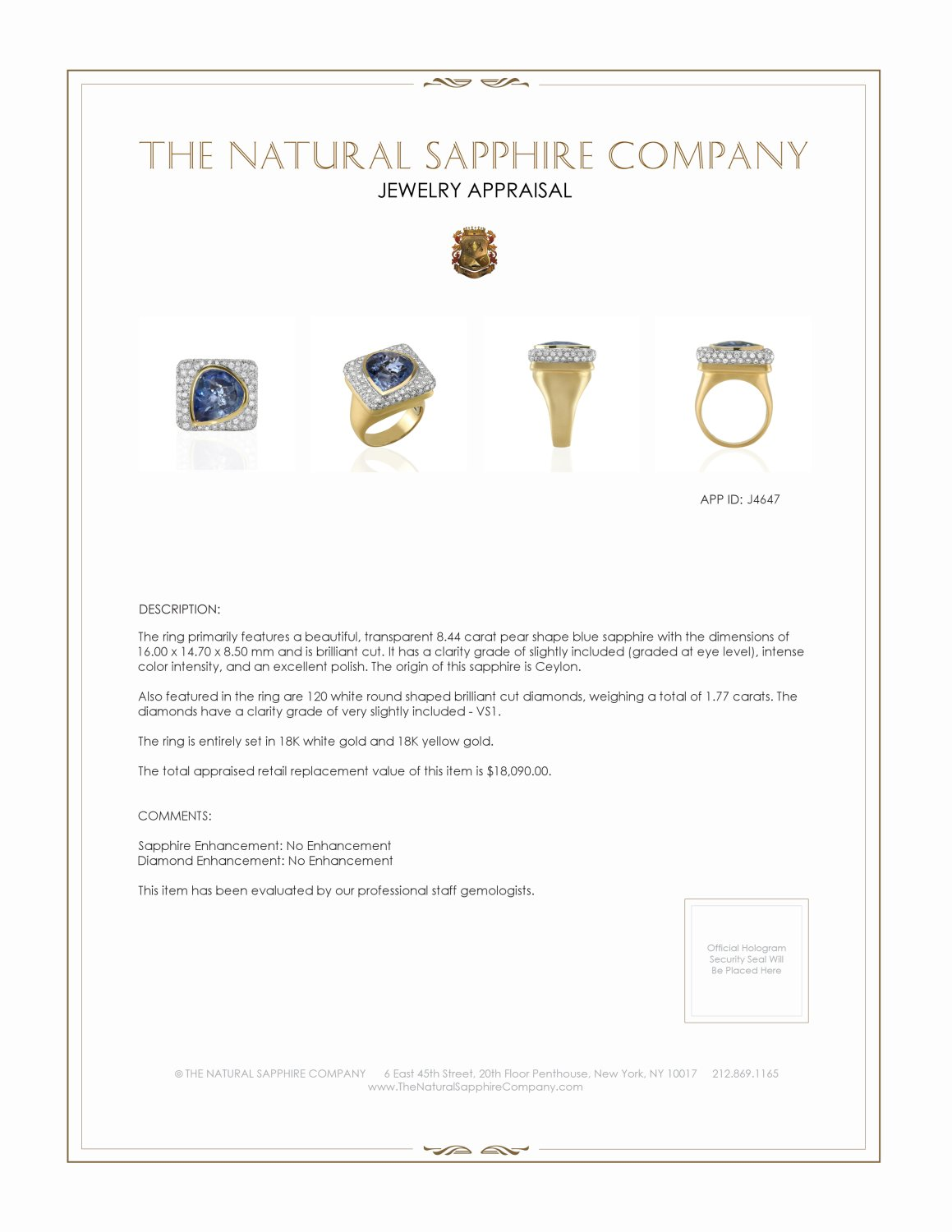 8.44ct Blue Sapphire Ring Certification 2