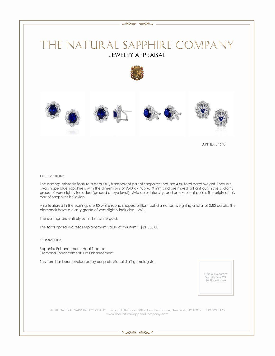 4.80ct Blue Sapphire Earring Certification 2