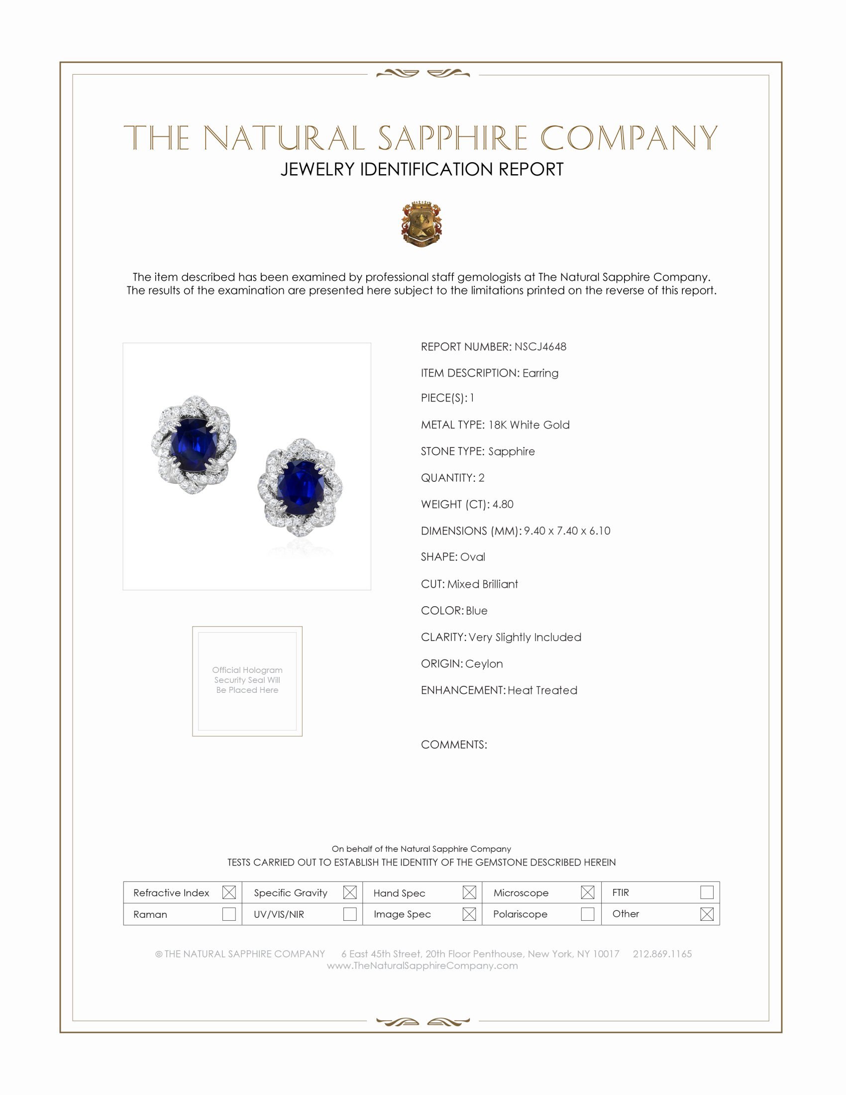 4.80ct Blue Sapphire Earring Certification