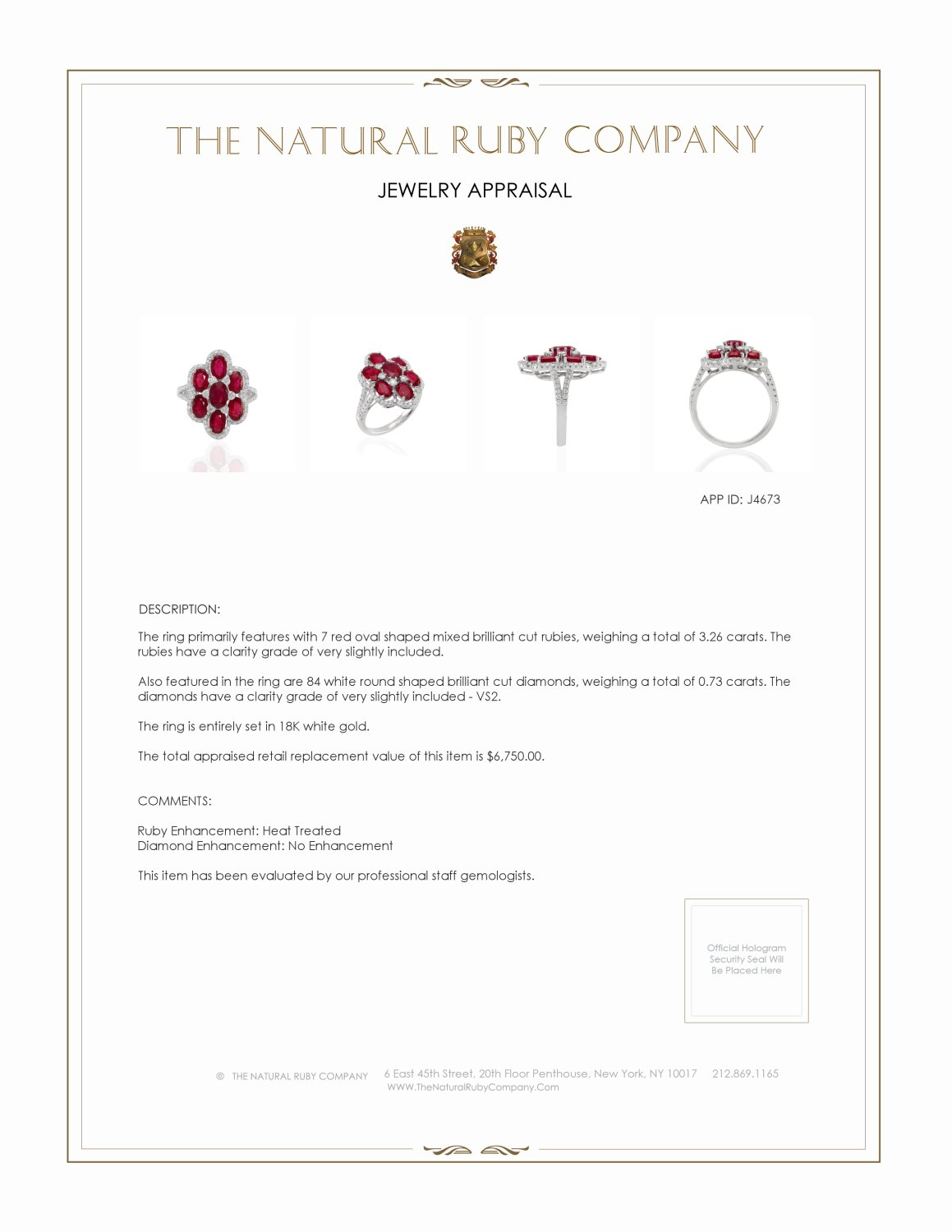 3.26ct Ruby Ring Certification 2