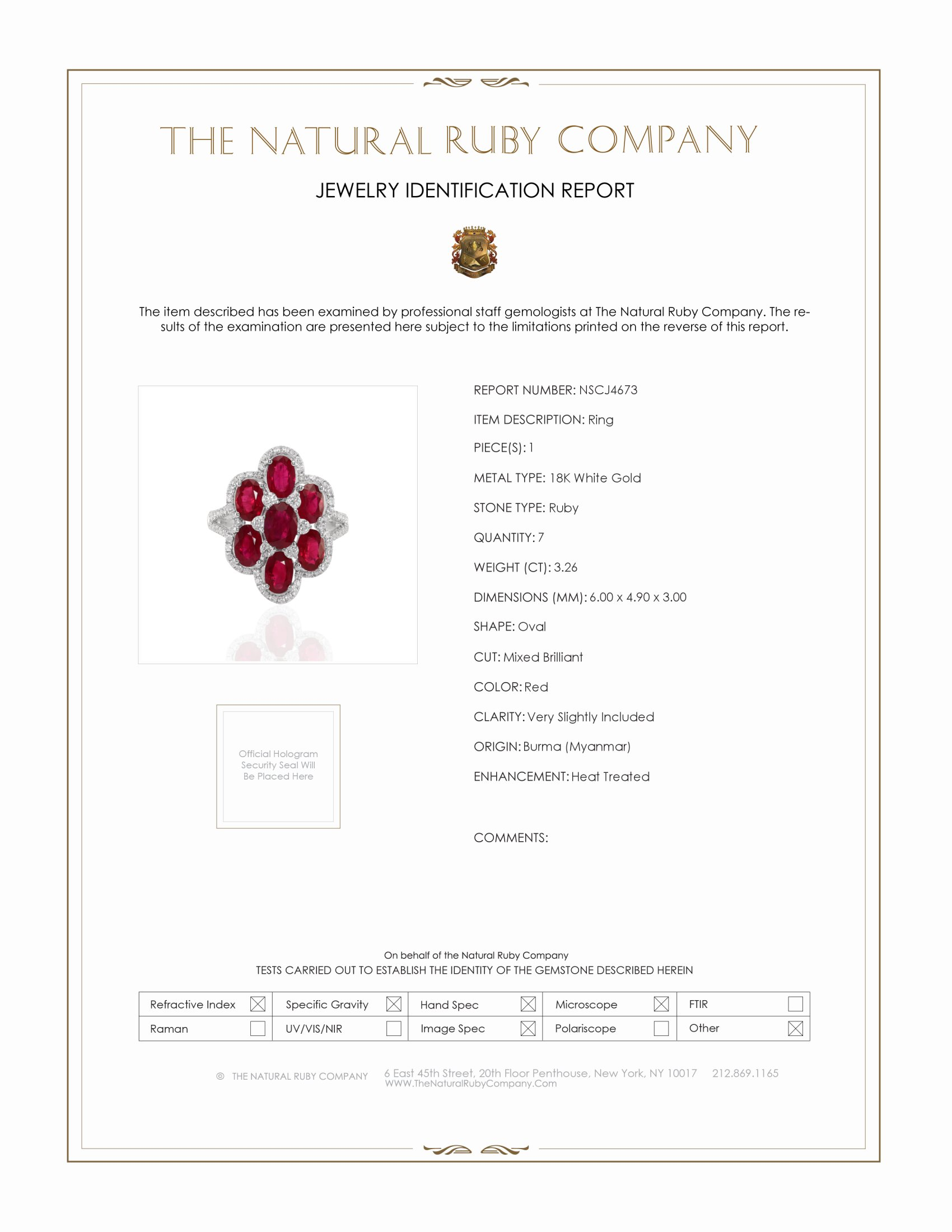 3.26ct Ruby Ring Certification