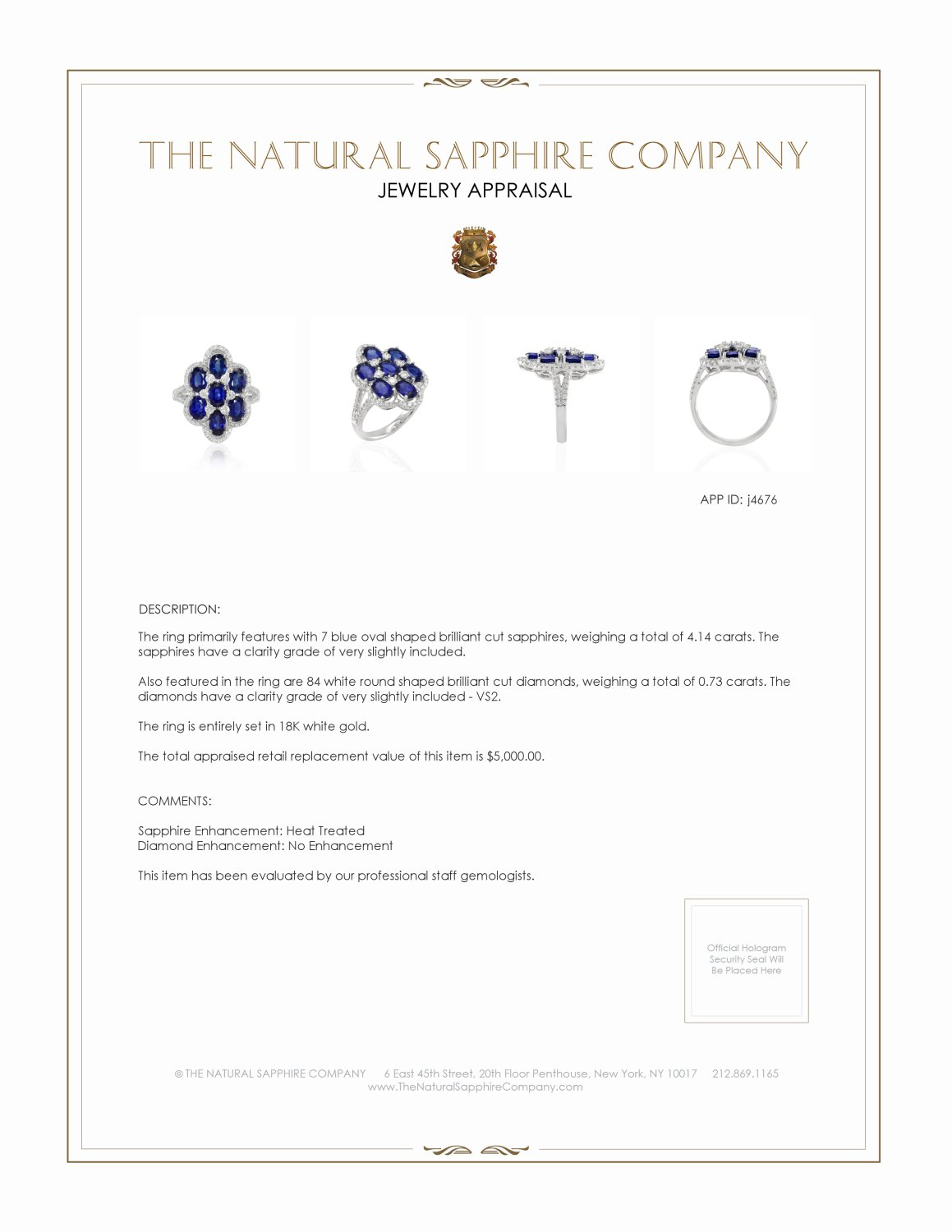 4.14ct Blue Sapphire Ring Certification 2