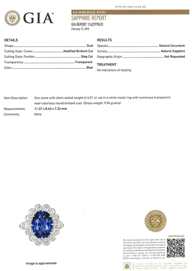 6.51ct Blue Sapphire Ring Certification 2