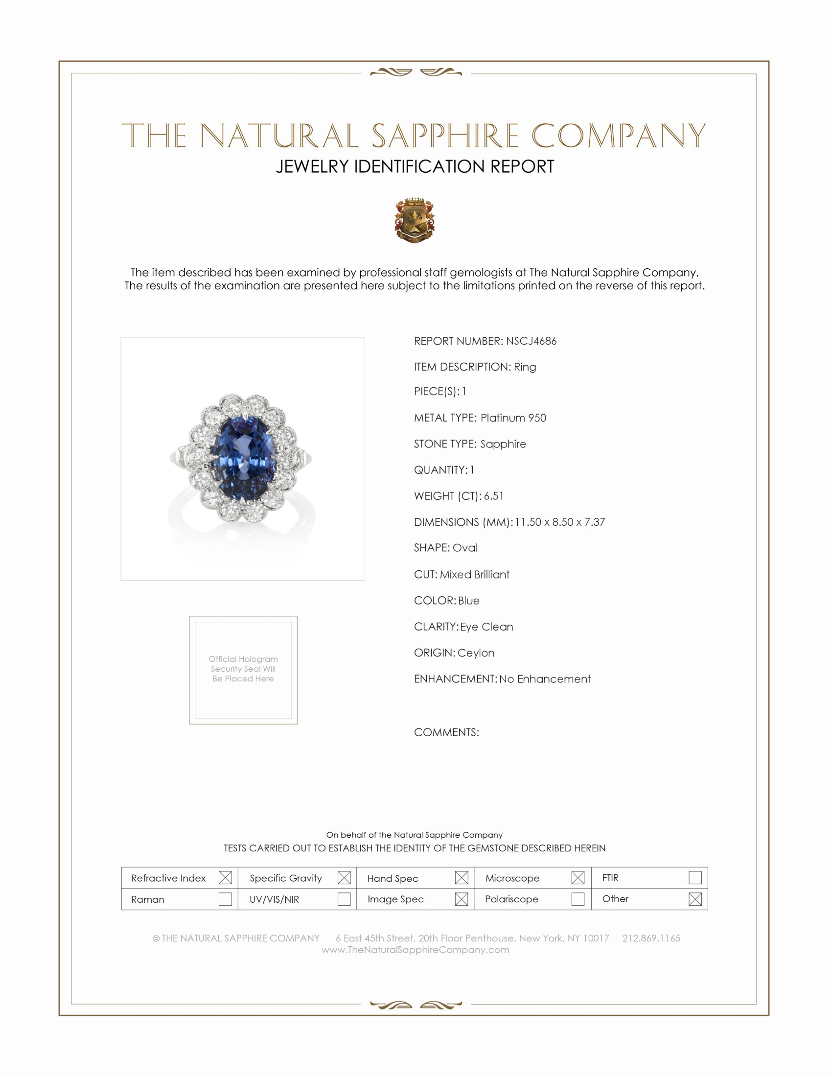 6.51ct Blue Sapphire Ring Certification