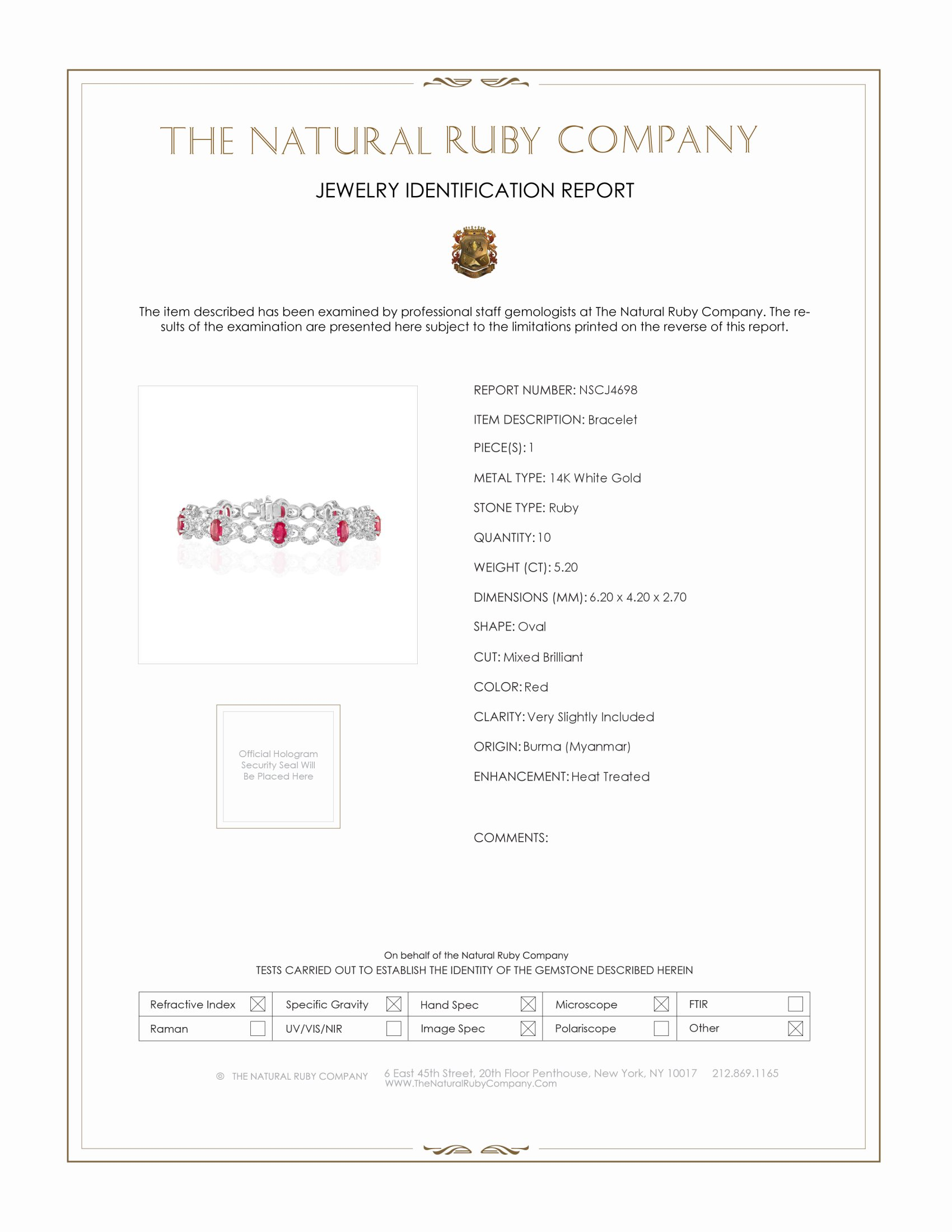 5.20ct Ruby Bracelet Certification