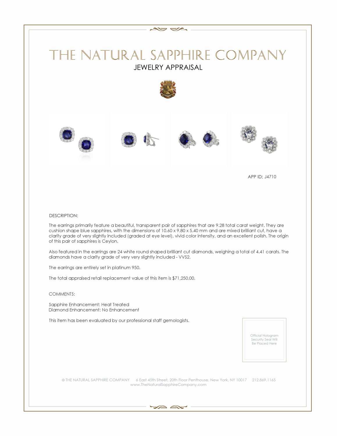 9.28ct Blue Sapphire Earring Certification 2
