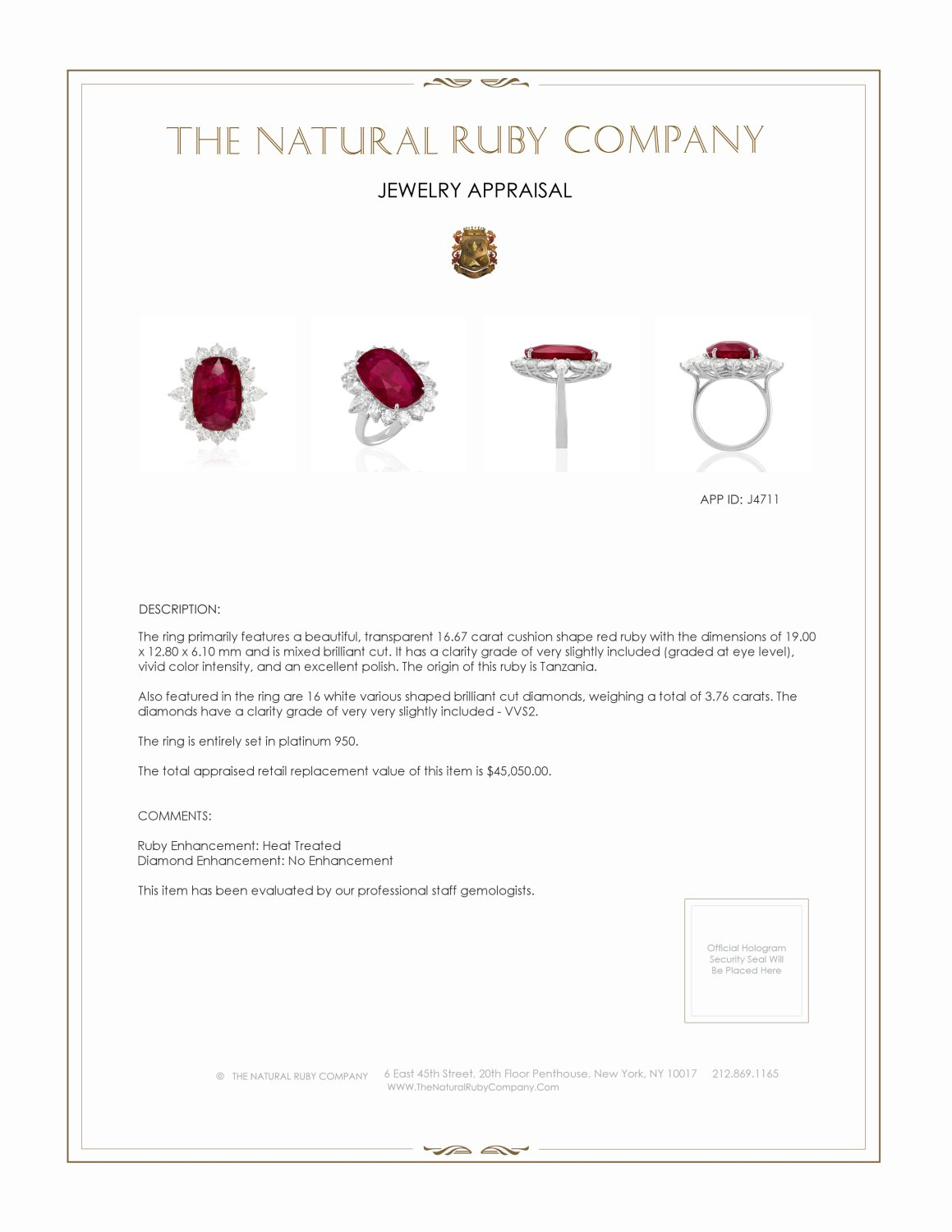 16.67ct Ruby Ring Certification 2
