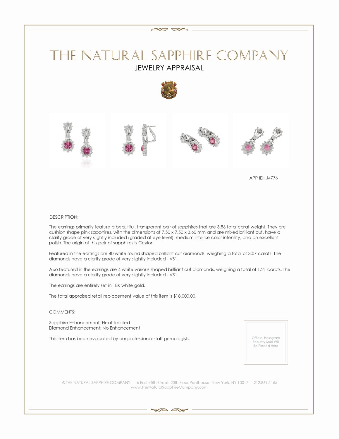3.86ct Pink Sapphire Earring Certification 2