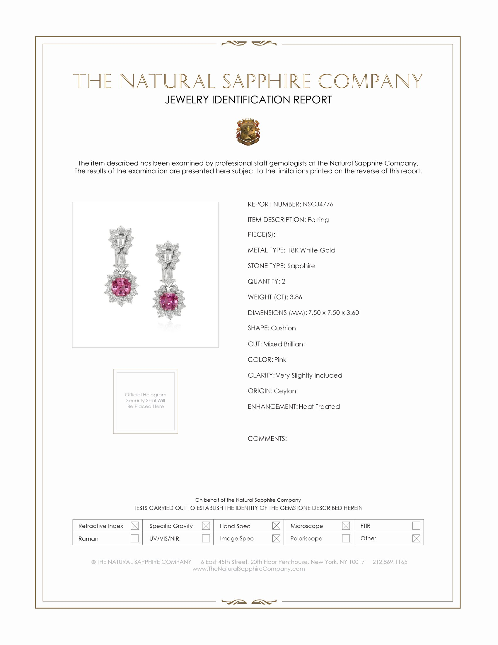 3.86ct Pink Sapphire Earring Certification