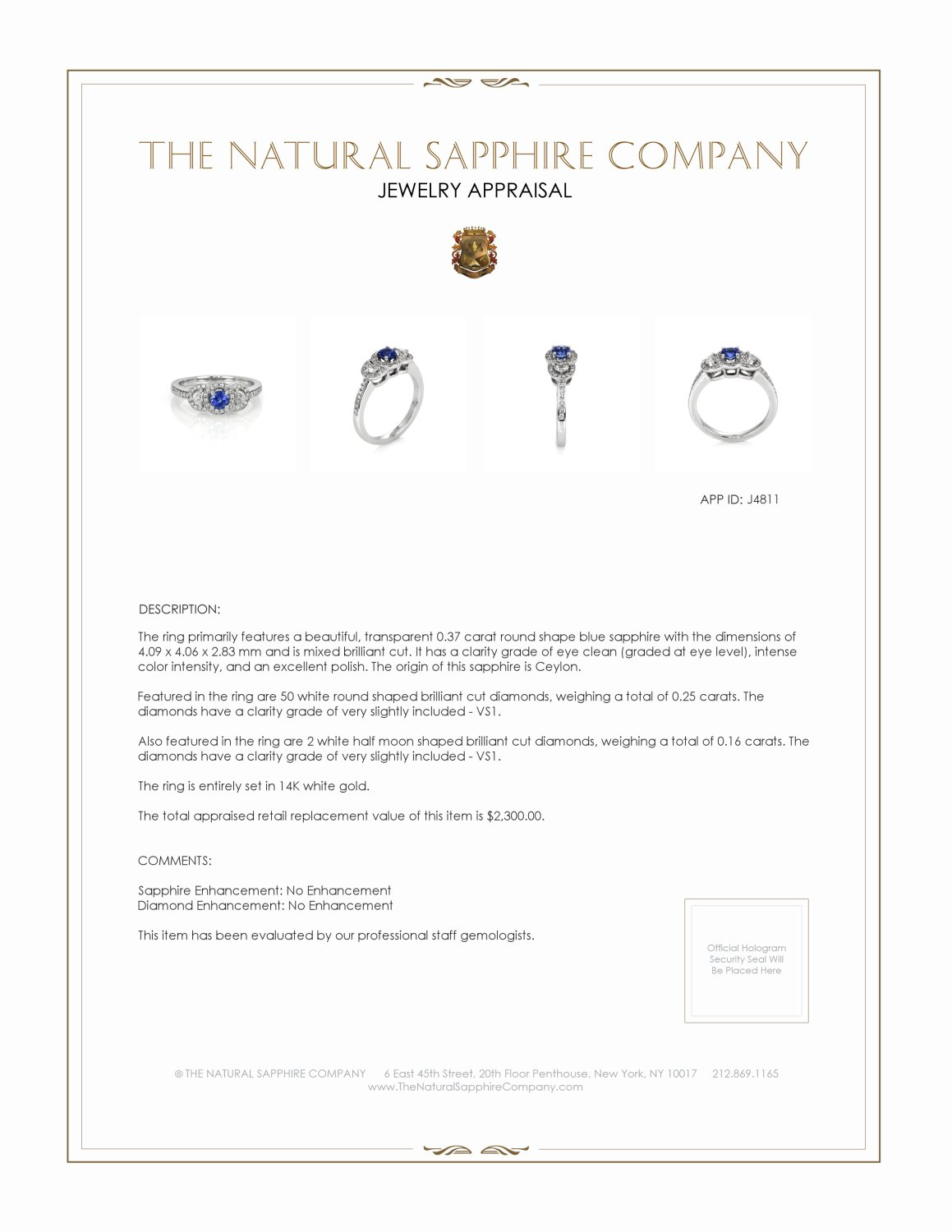 0.37ct Blue Sapphire Ring Certification 2