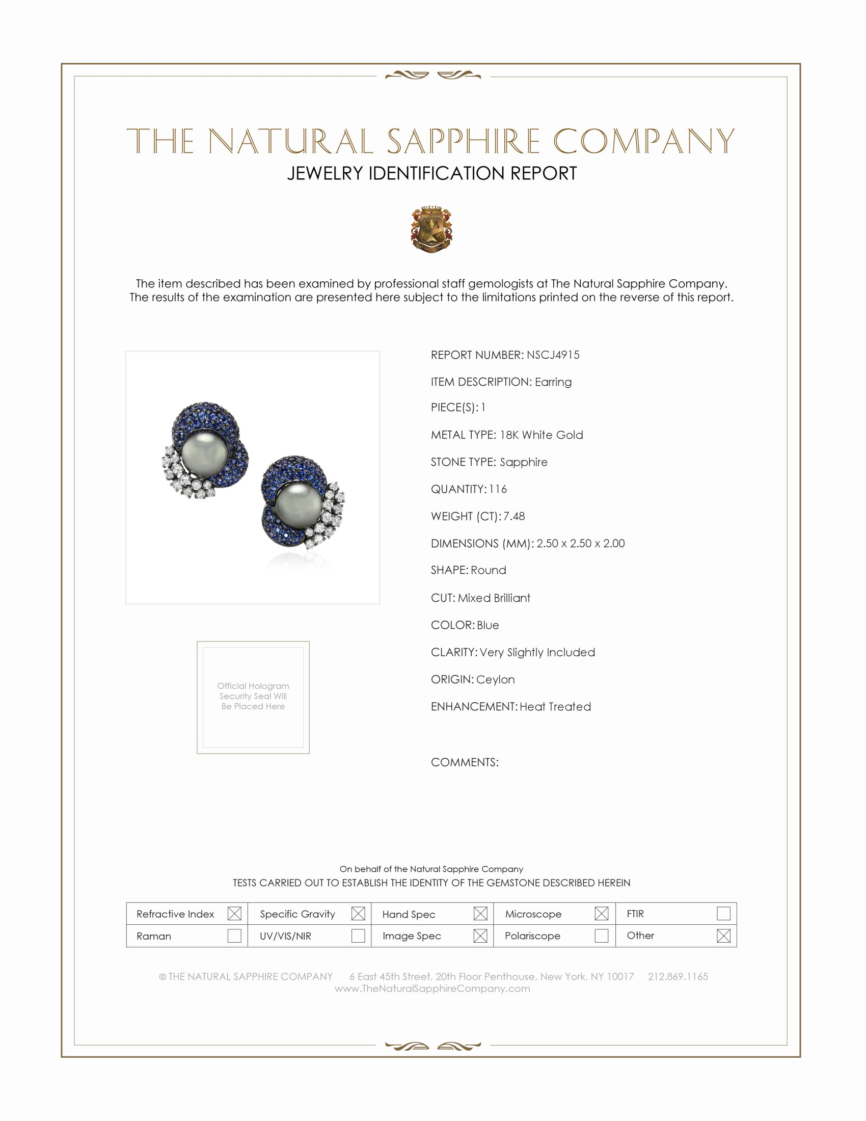 7.48ct Blue Sapphire Earring Certification