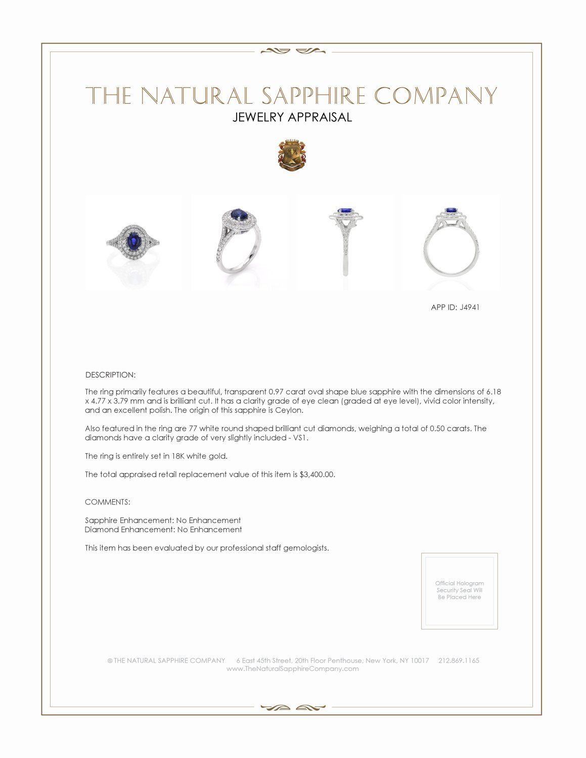 0.97ct Blue Sapphire Ring Certification