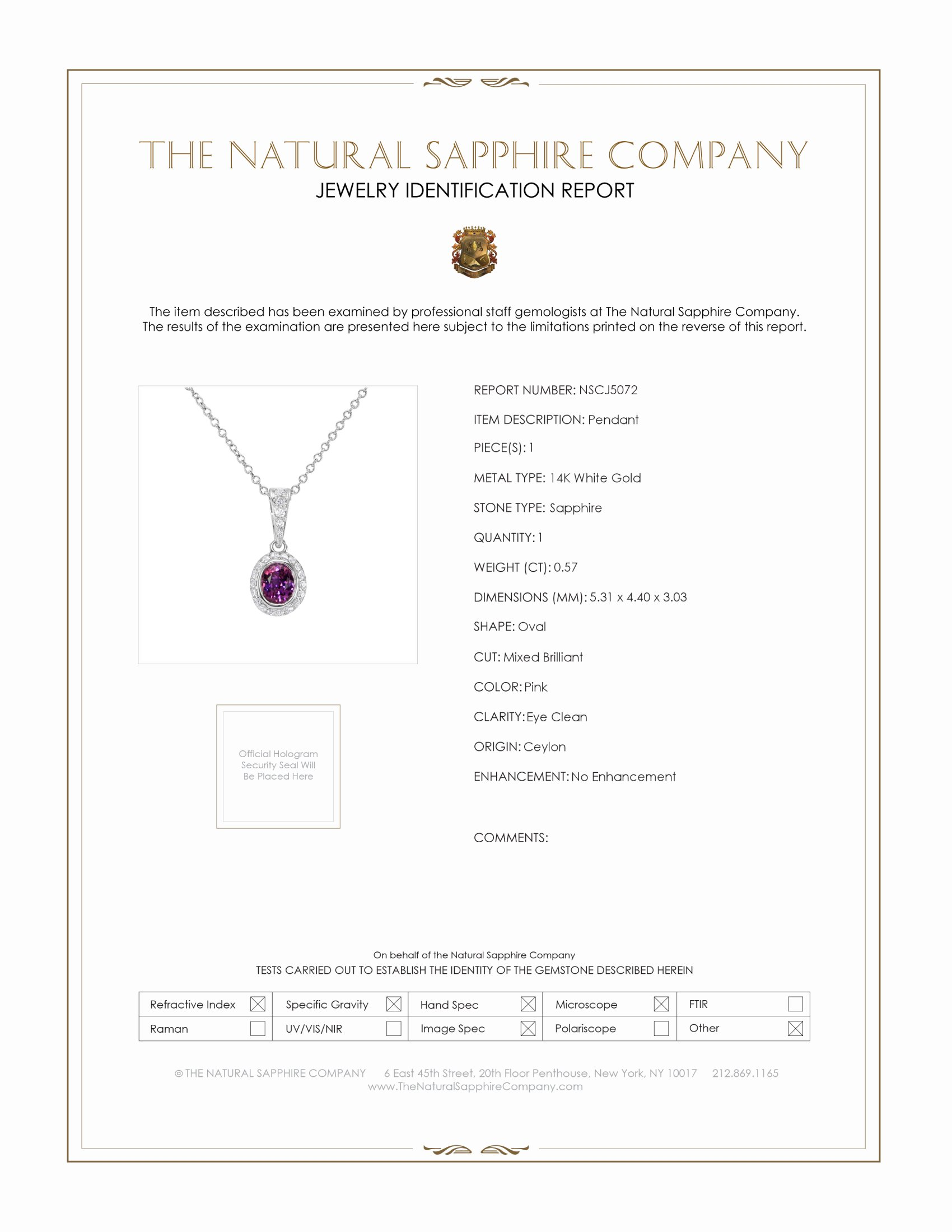 0.57ct Pink Sapphire Pendant Certification