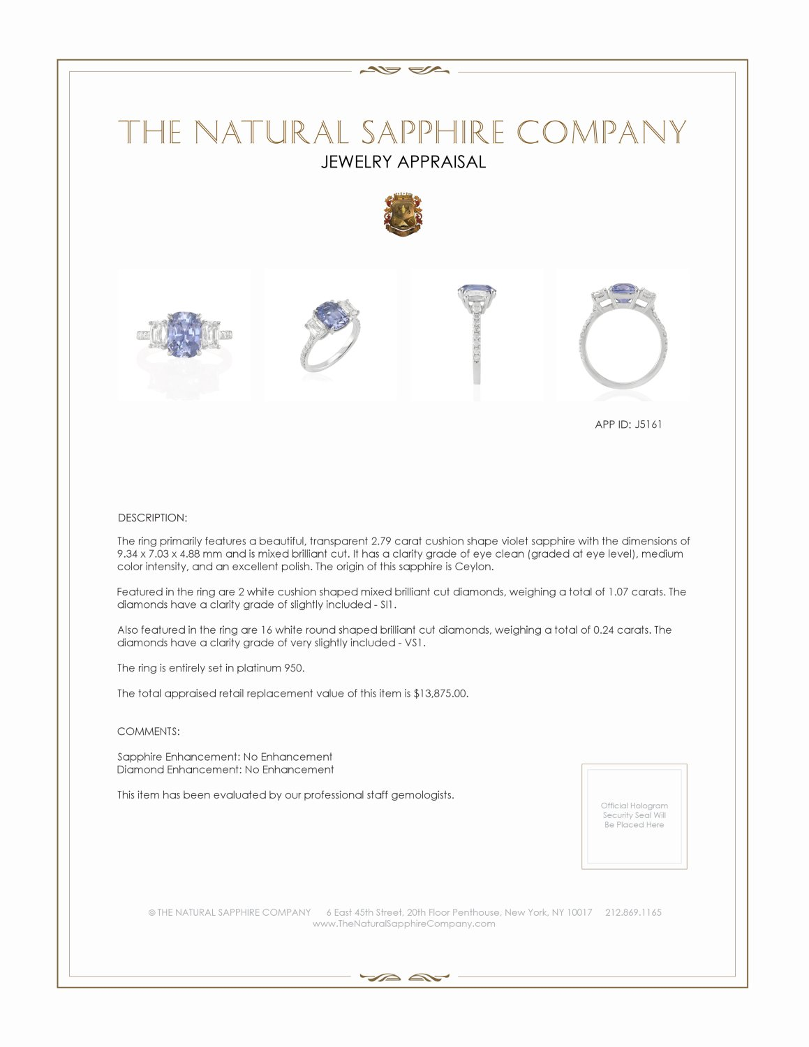 2.79ct Violet Sapphire Ring Certification 2