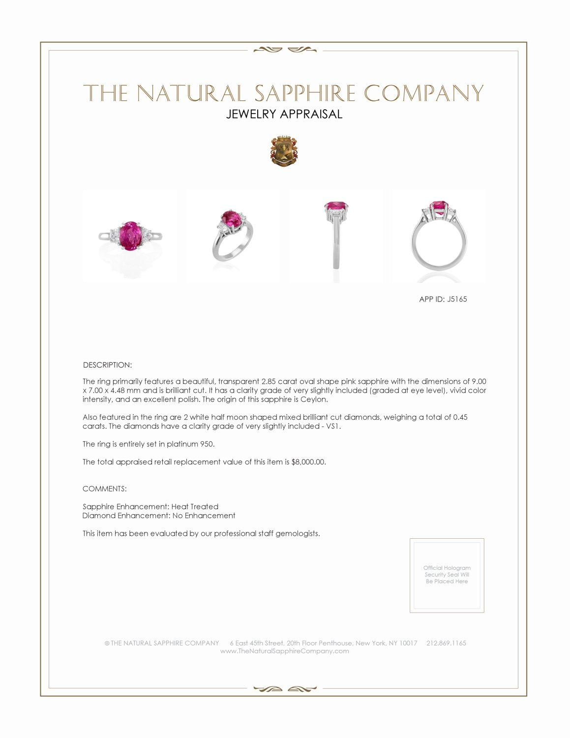 2.85ct Pink Sapphire Ring Certification 2