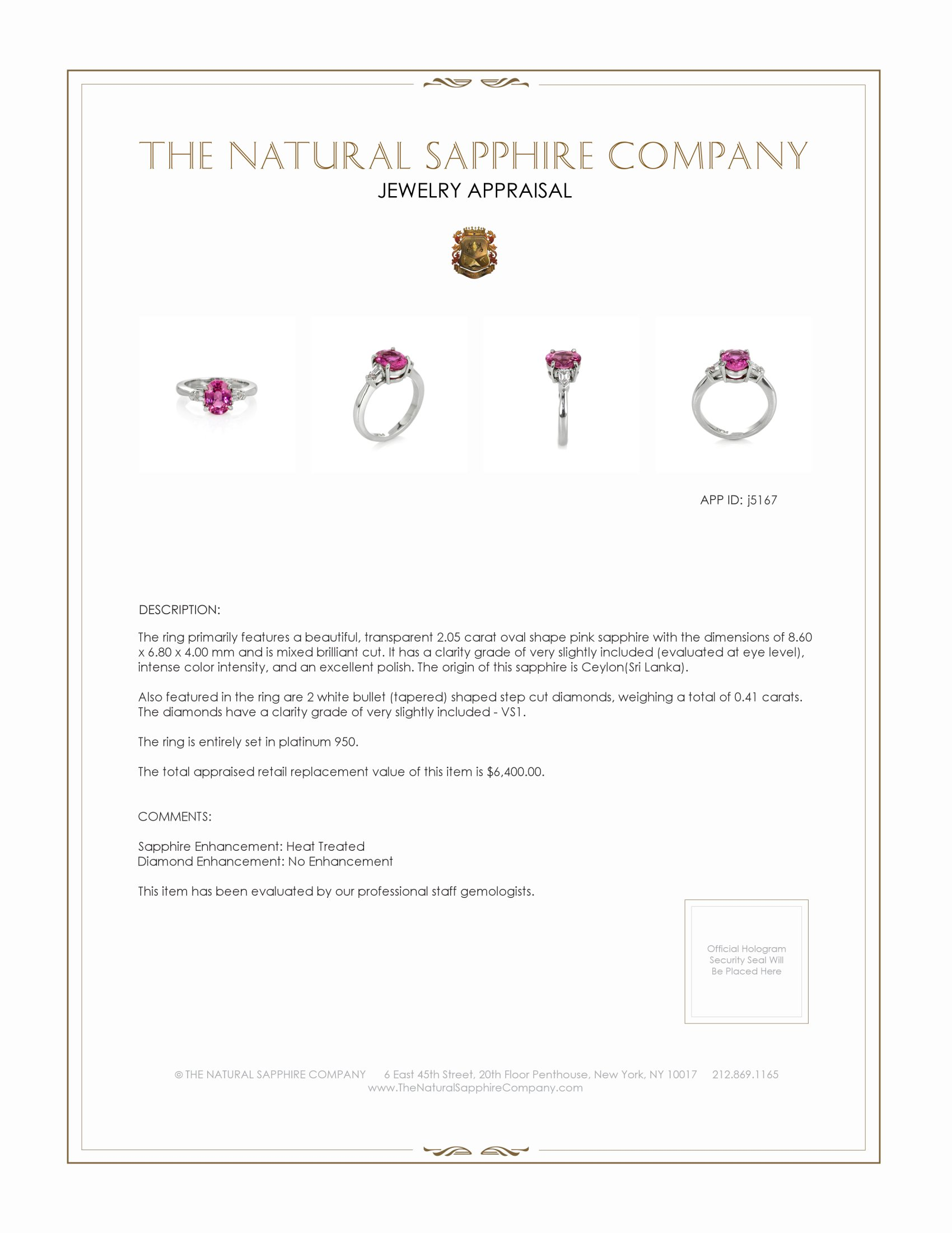 2.05ct Pink Sapphire Ring Certification