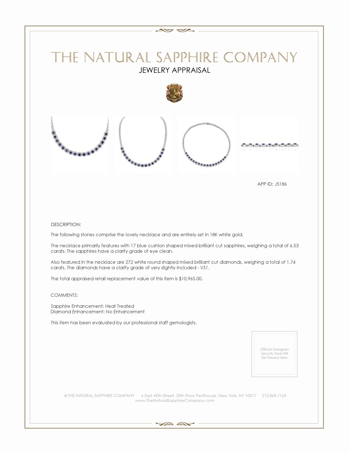 6.53ct Blue Sapphire Necklace Certification 2