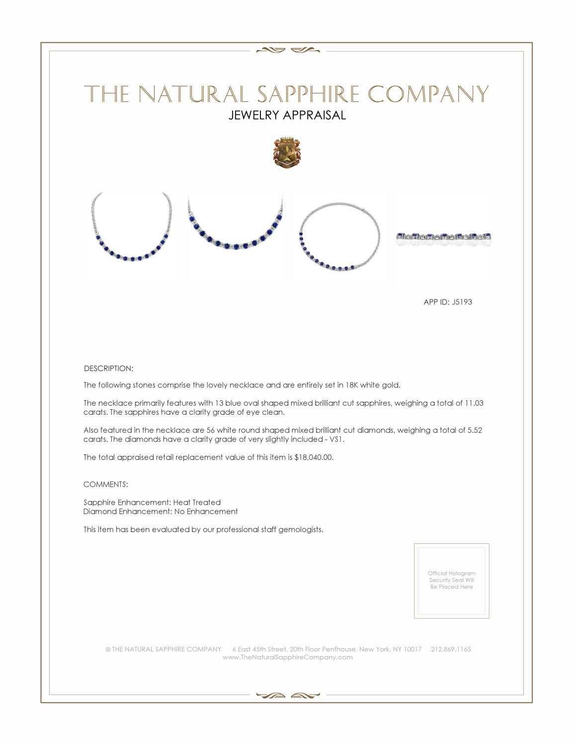 11.03ct Blue Sapphire Necklace Certification 2