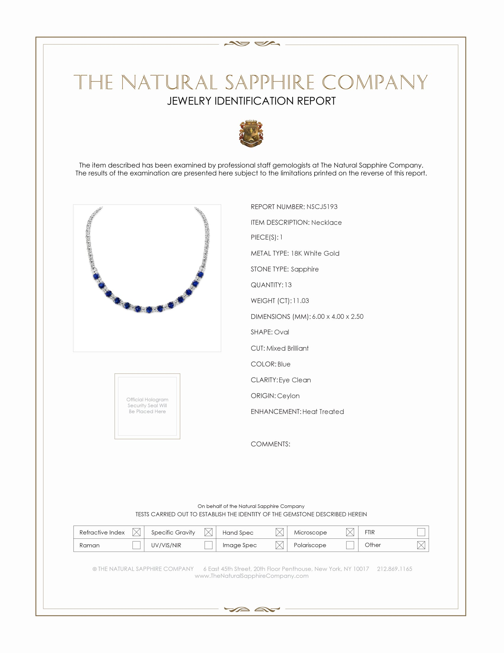 11.03ct Blue Sapphire Necklace Certification