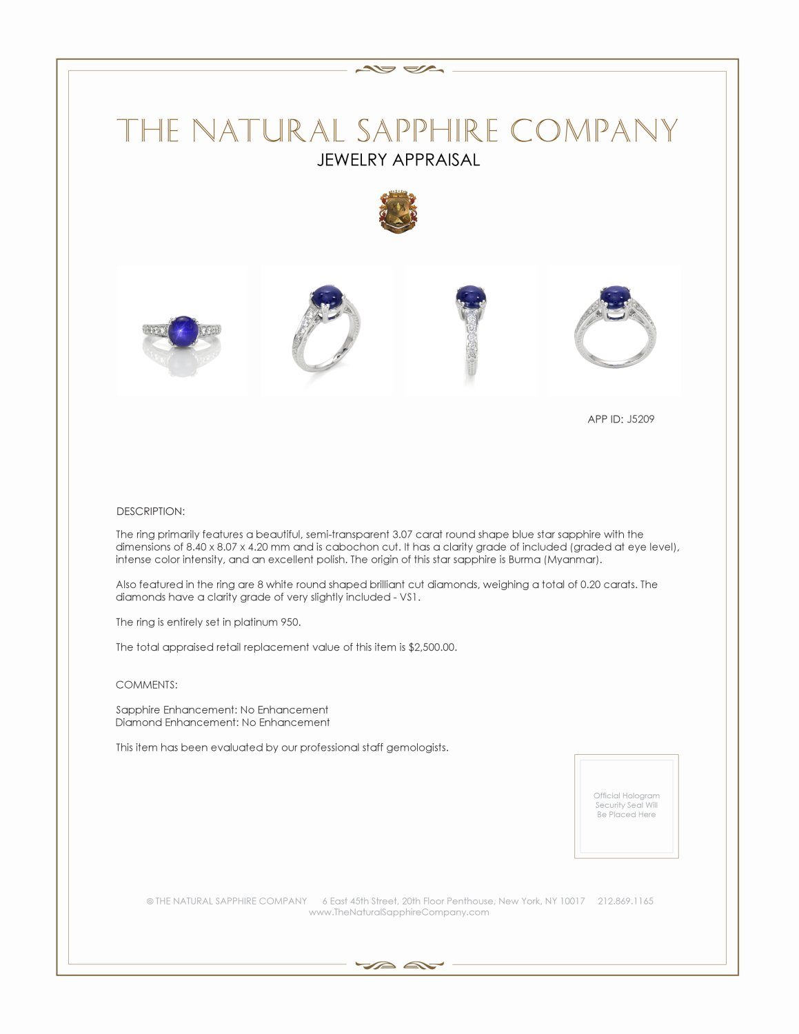 3.07ct Blue Sapphire Ring Certification