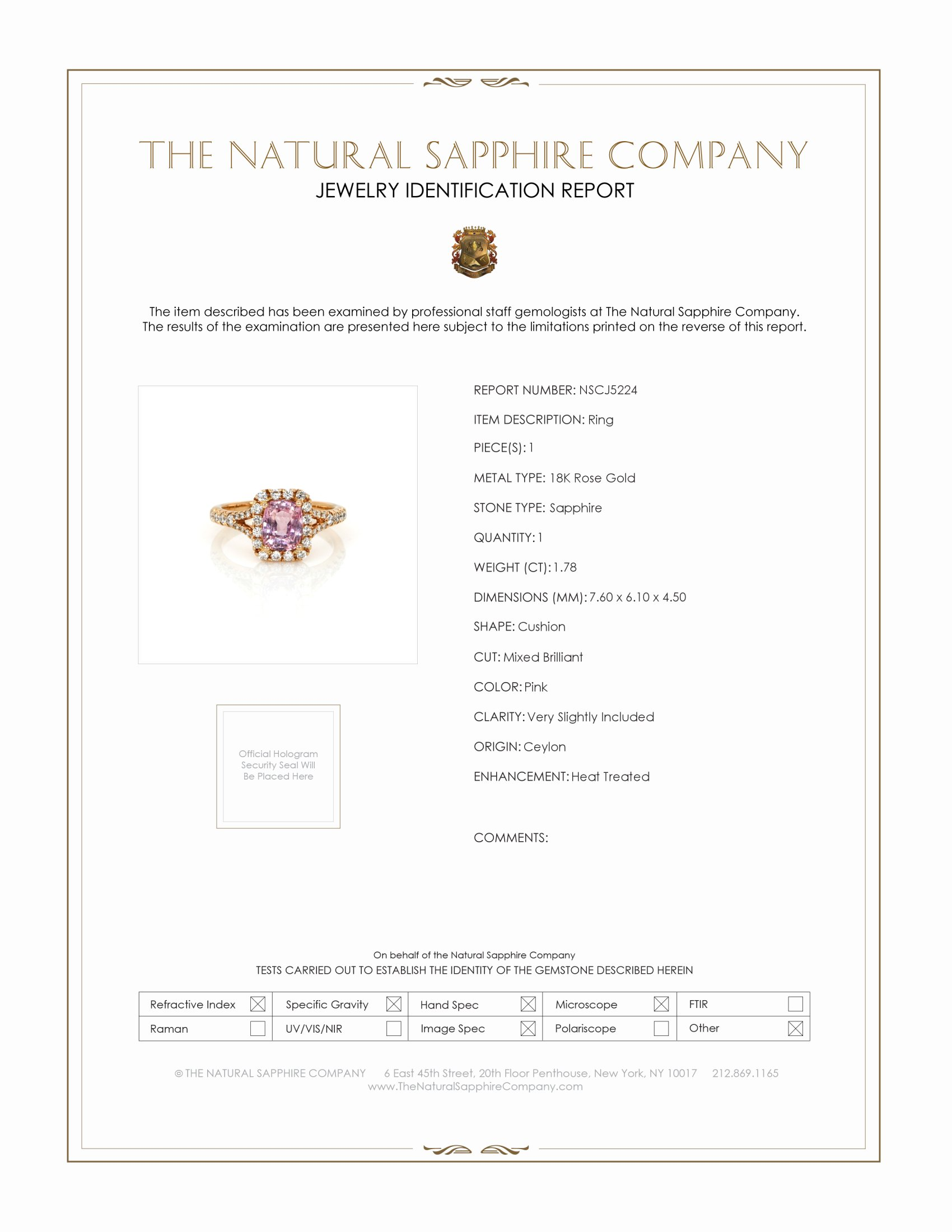 1.78ct Pink Sapphire Ring Certification