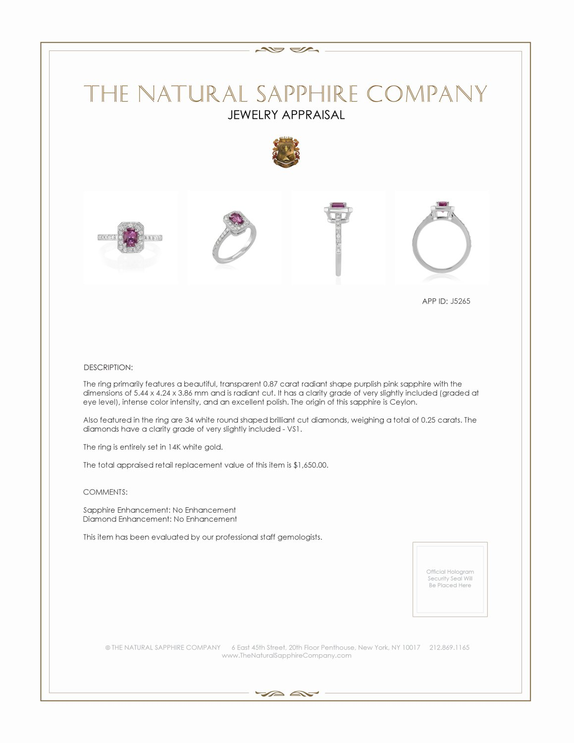 0.87ct Purplish Pink Sapphire Ring Certification 2