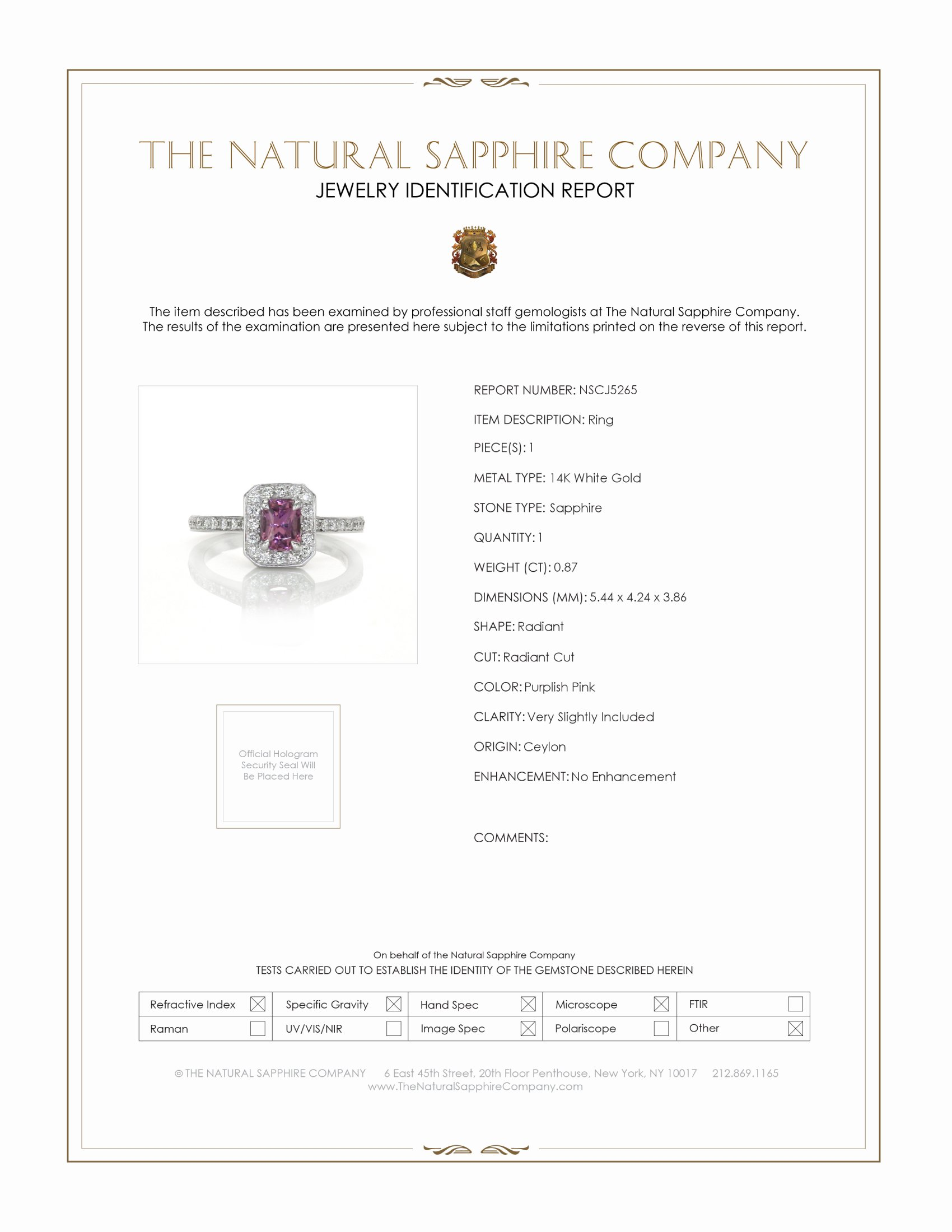 0.87ct Purplish Pink Sapphire Ring Certification