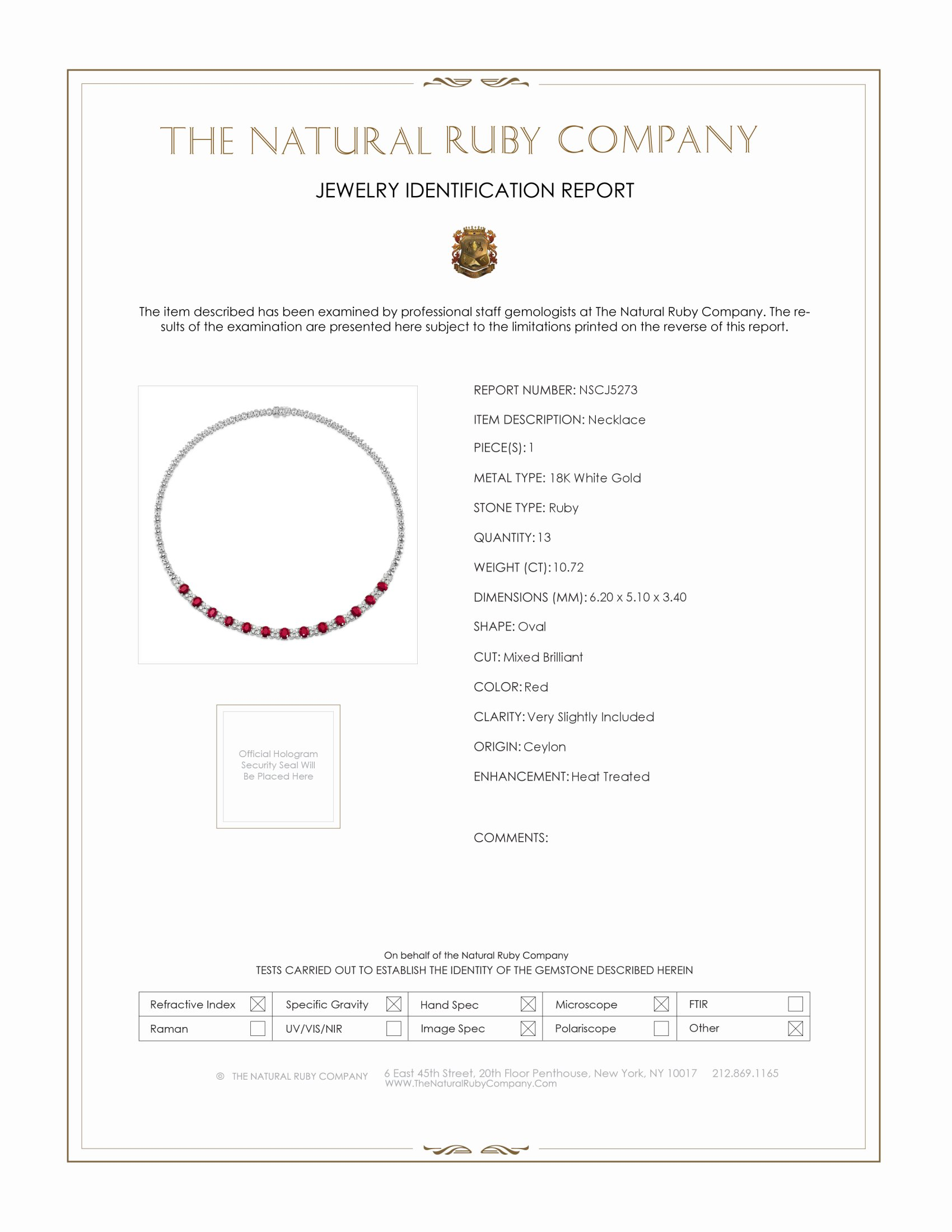 10.72ct Ruby Necklace Certification