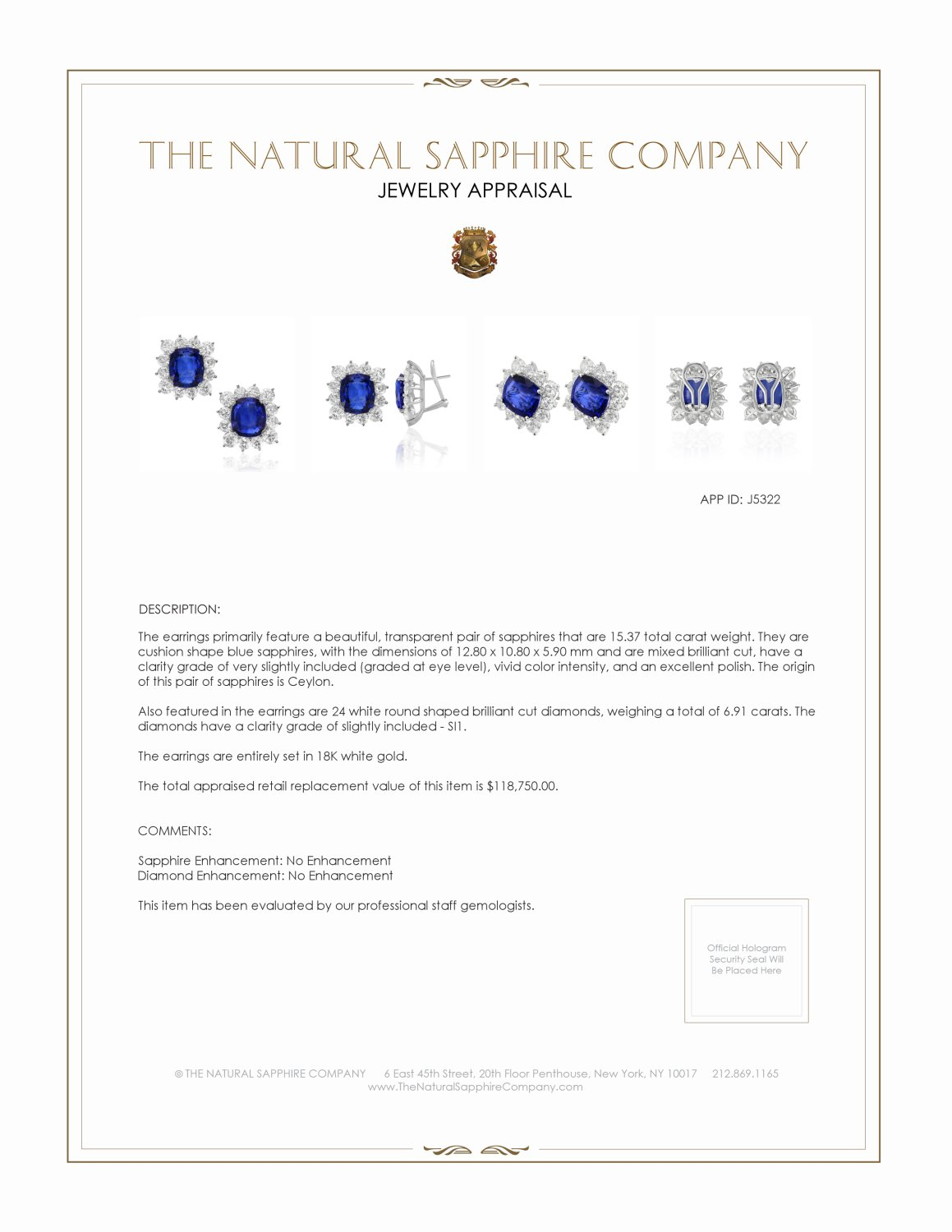 15.37ct Blue Sapphire Earring Certification 2