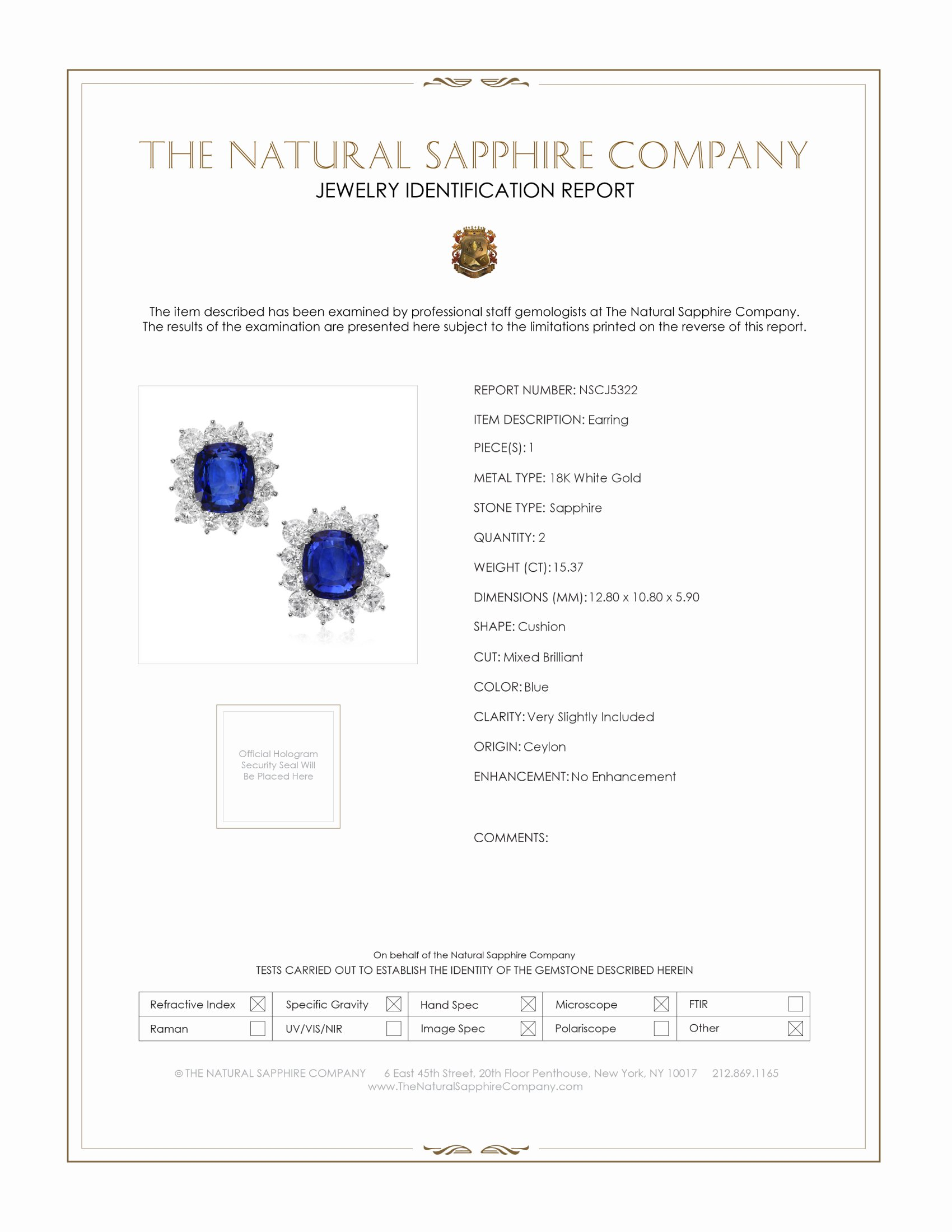 15.37ct Blue Sapphire Earring Certification