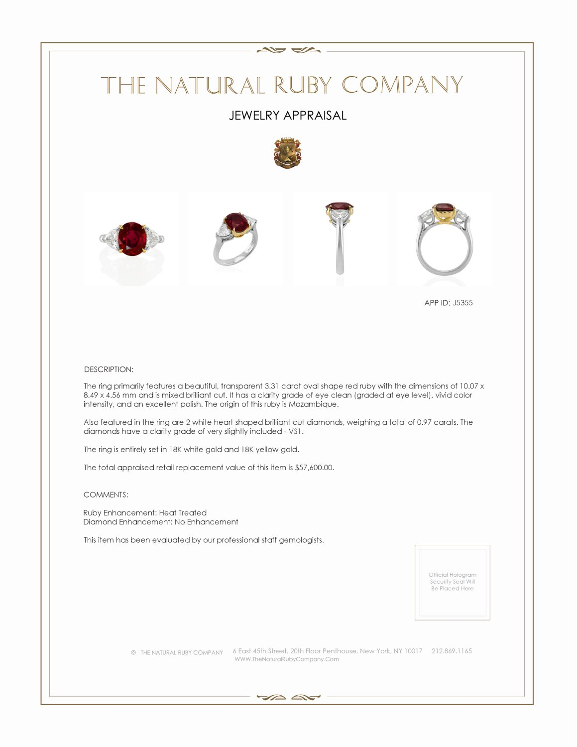 3.31ct Ruby Ring Certification 3