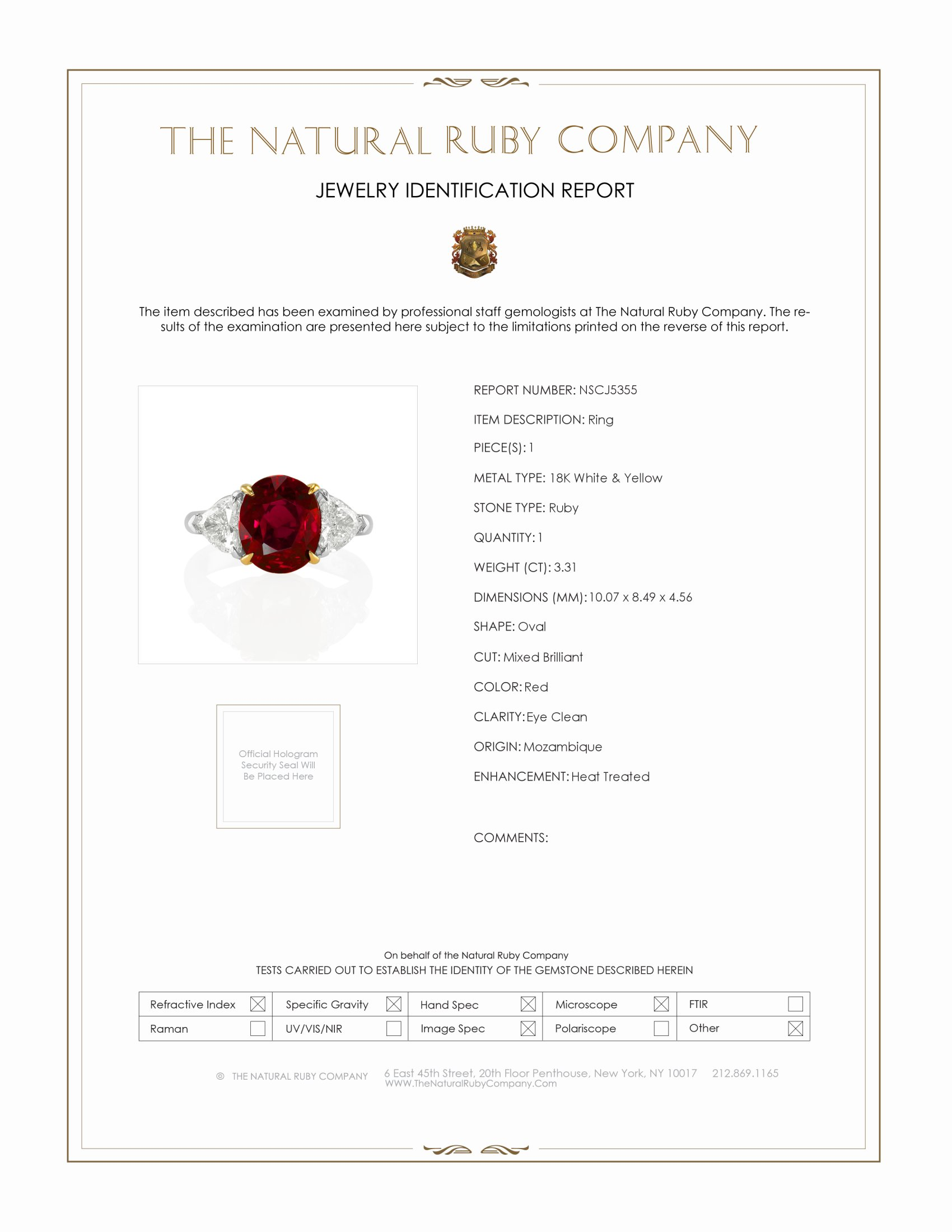 3.31ct Ruby Ring Certification