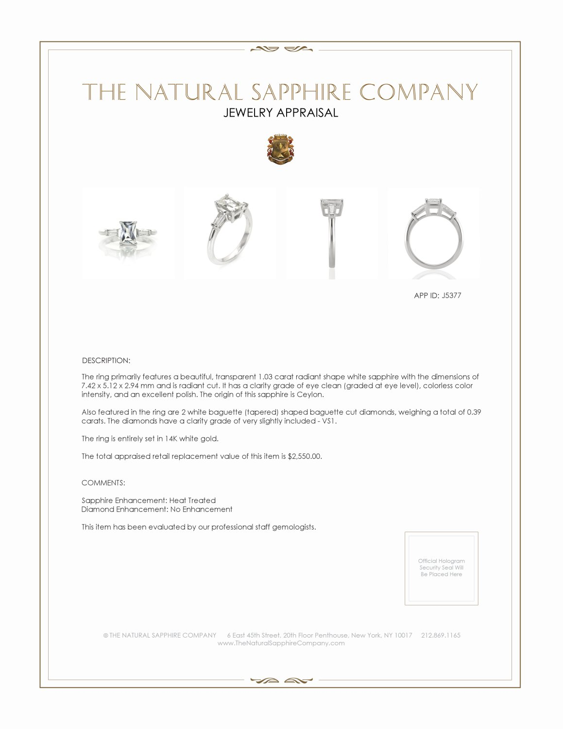 1.03ct White Sapphire Ring Certification 2