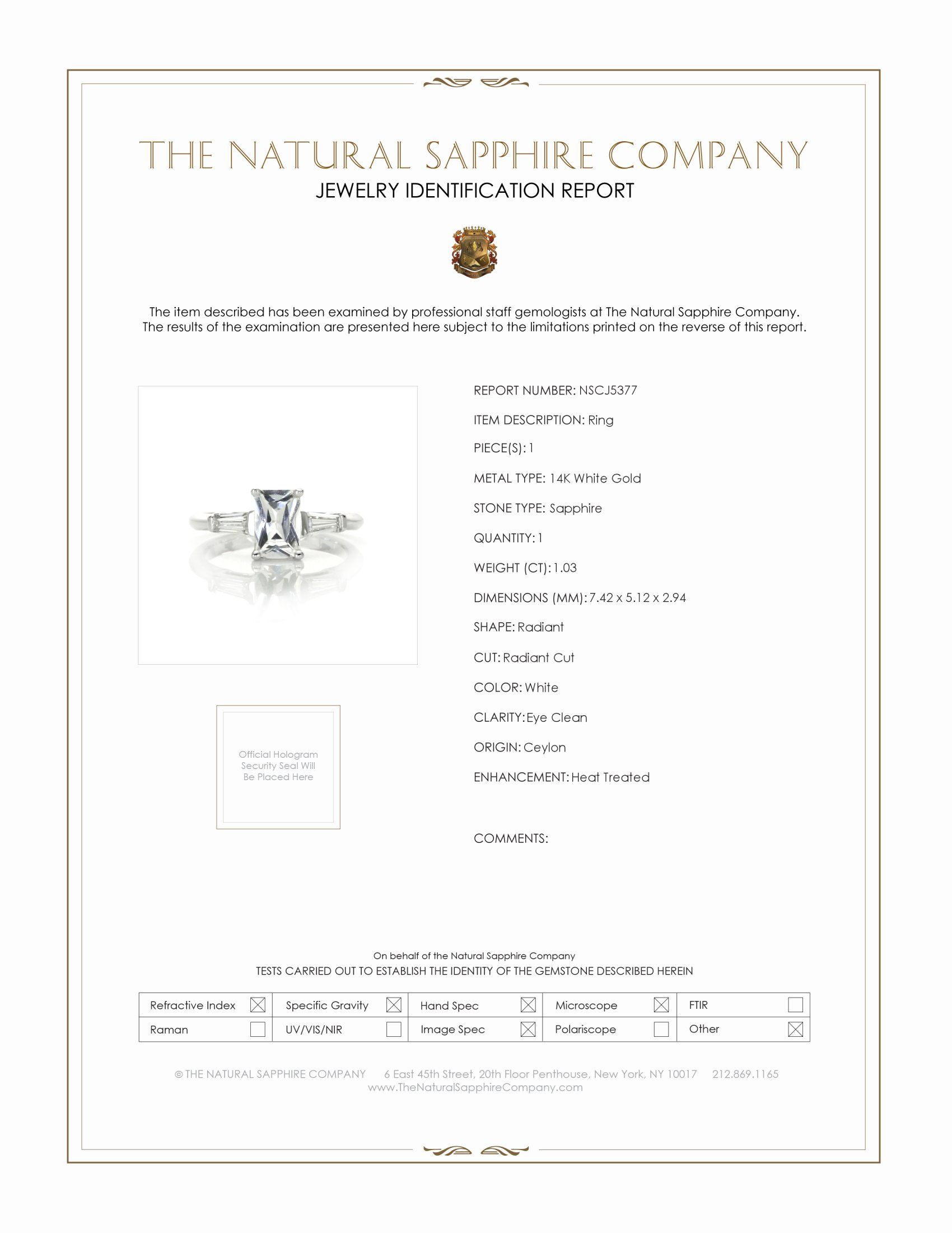 1.03ct White Sapphire Ring Certification