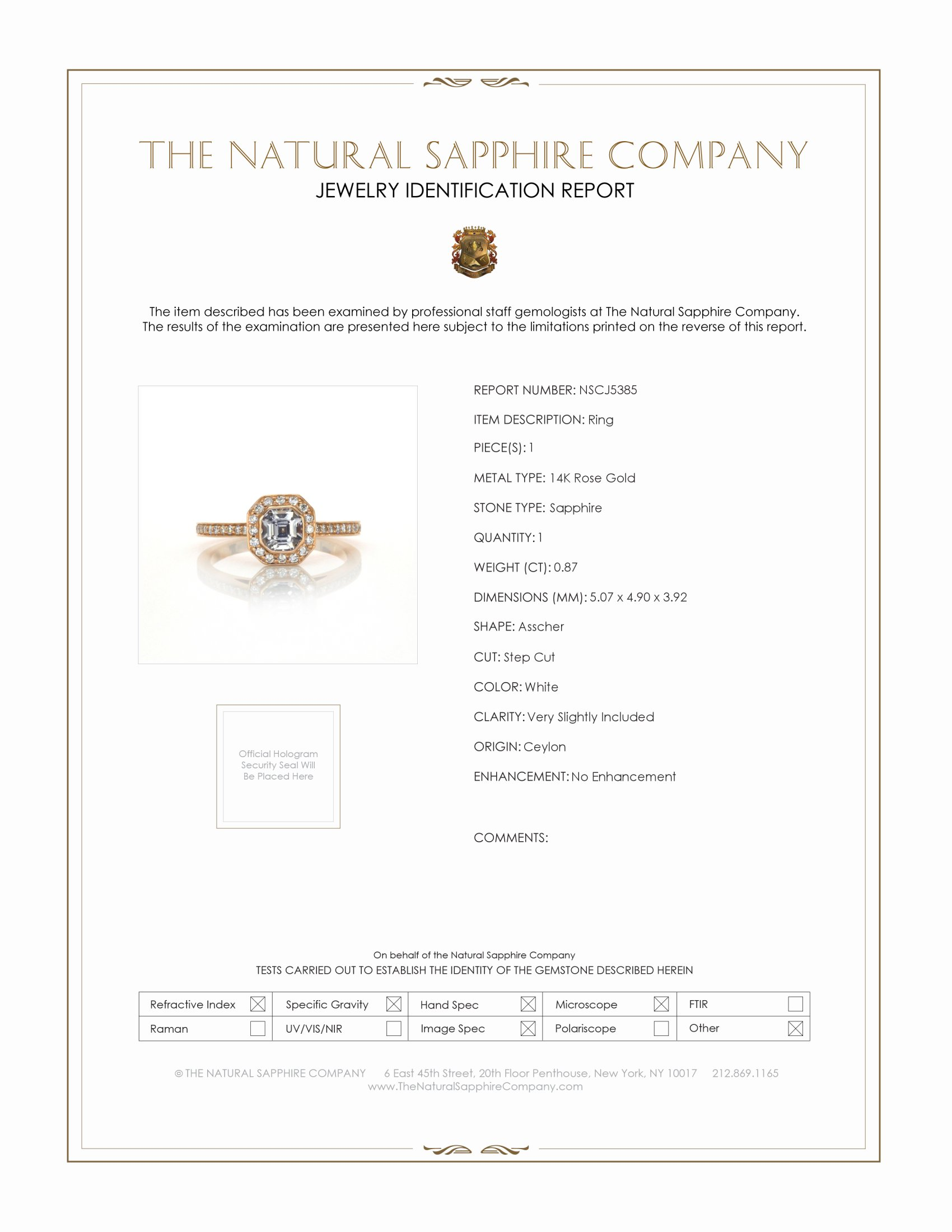 0.87ct White Sapphire Ring Certification
