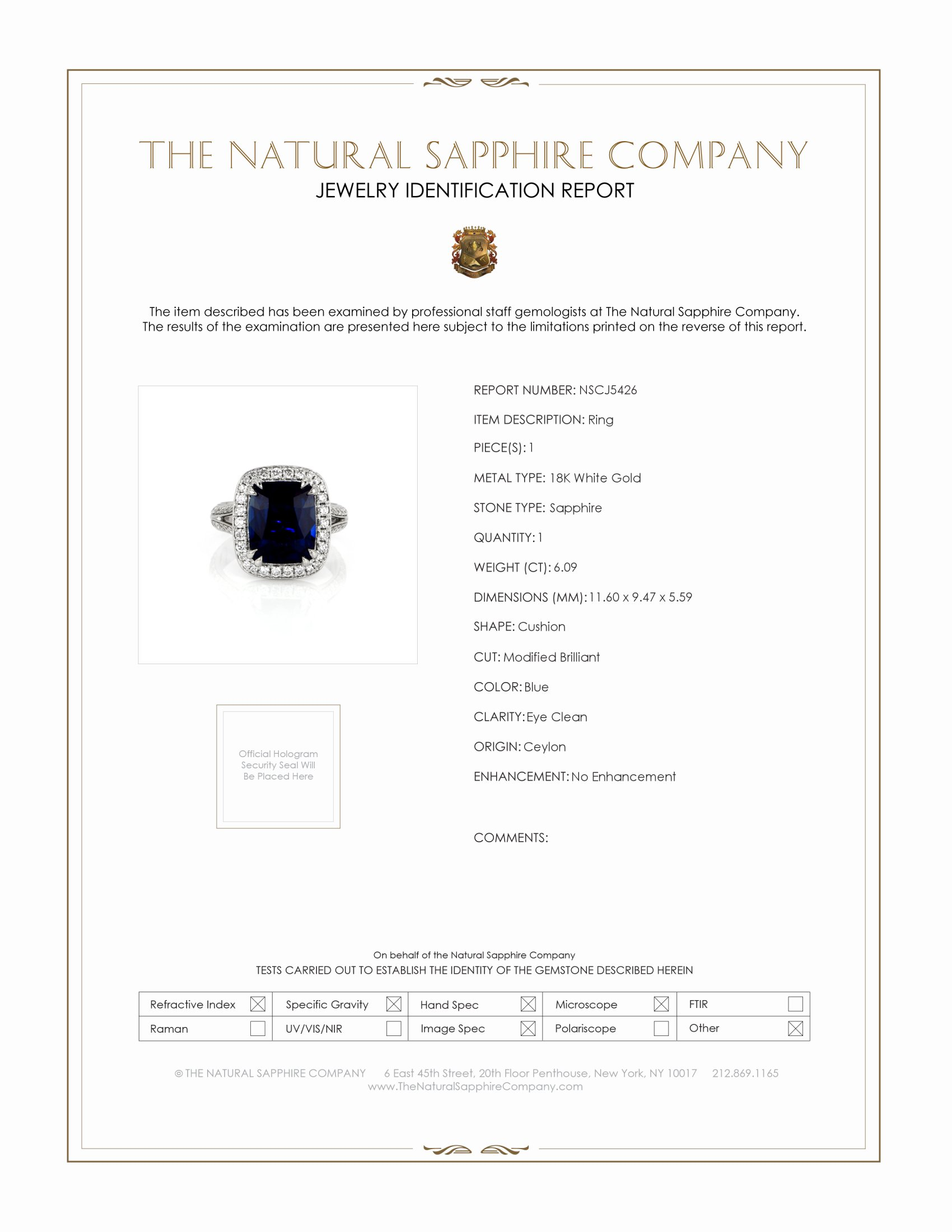 6.09ct Blue Sapphire Ring Certification