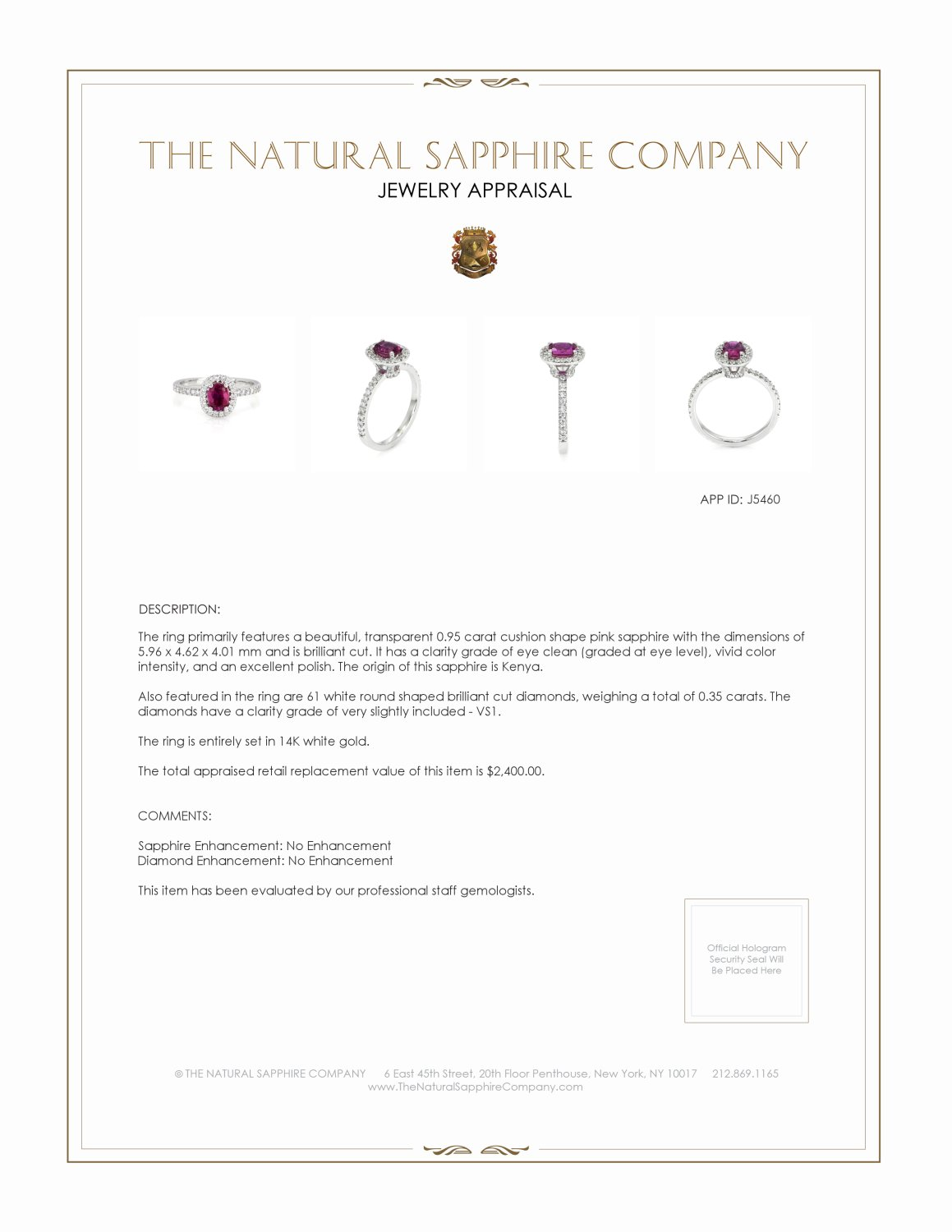 0.95ct Pink Sapphire Ring Certification 3