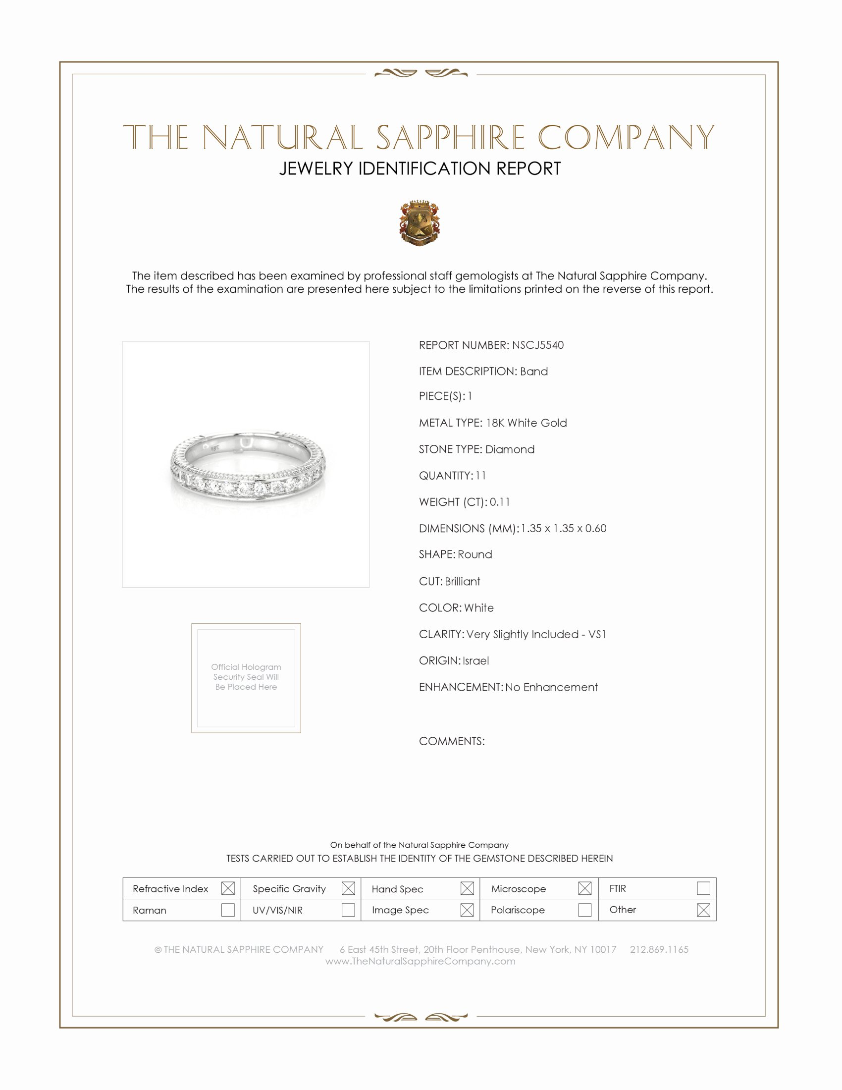 0.11ct White Diamond Band Certification