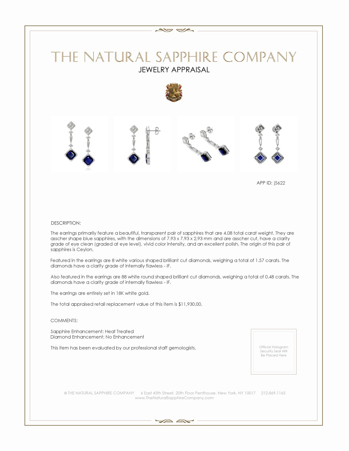 4.08ct Blue Sapphire Earring Certification 2