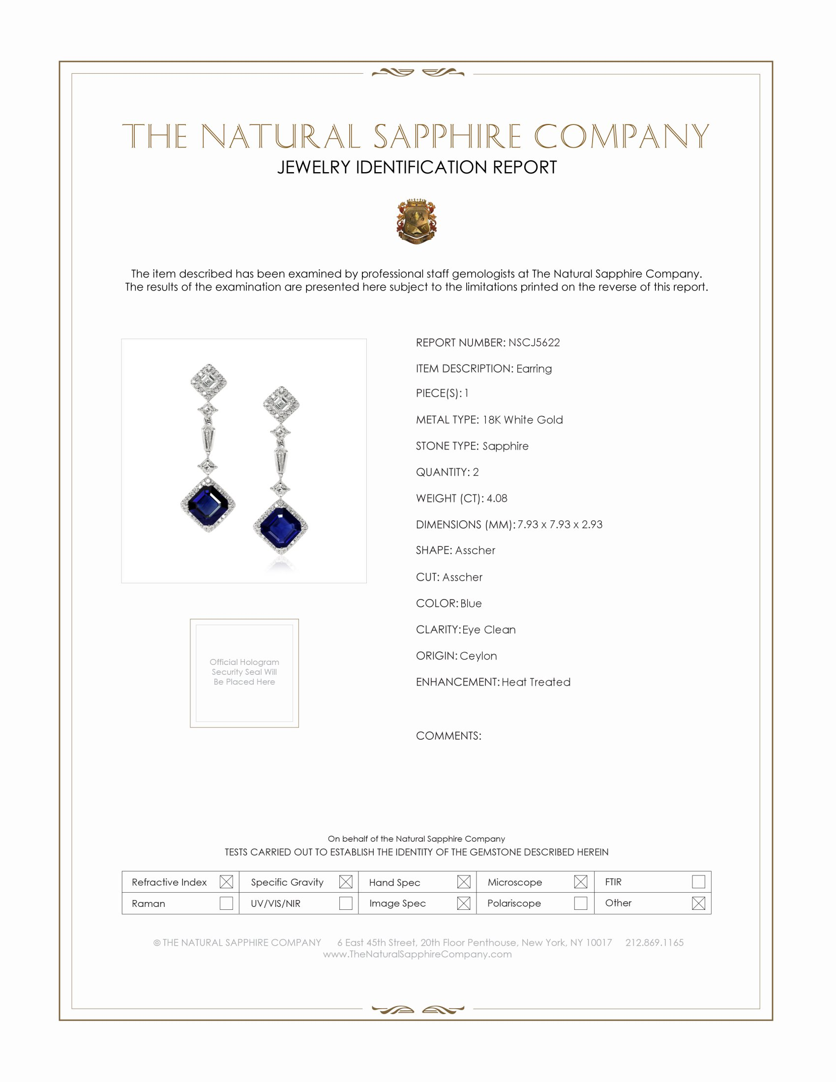 4.08ct Blue Sapphire Earring Certification