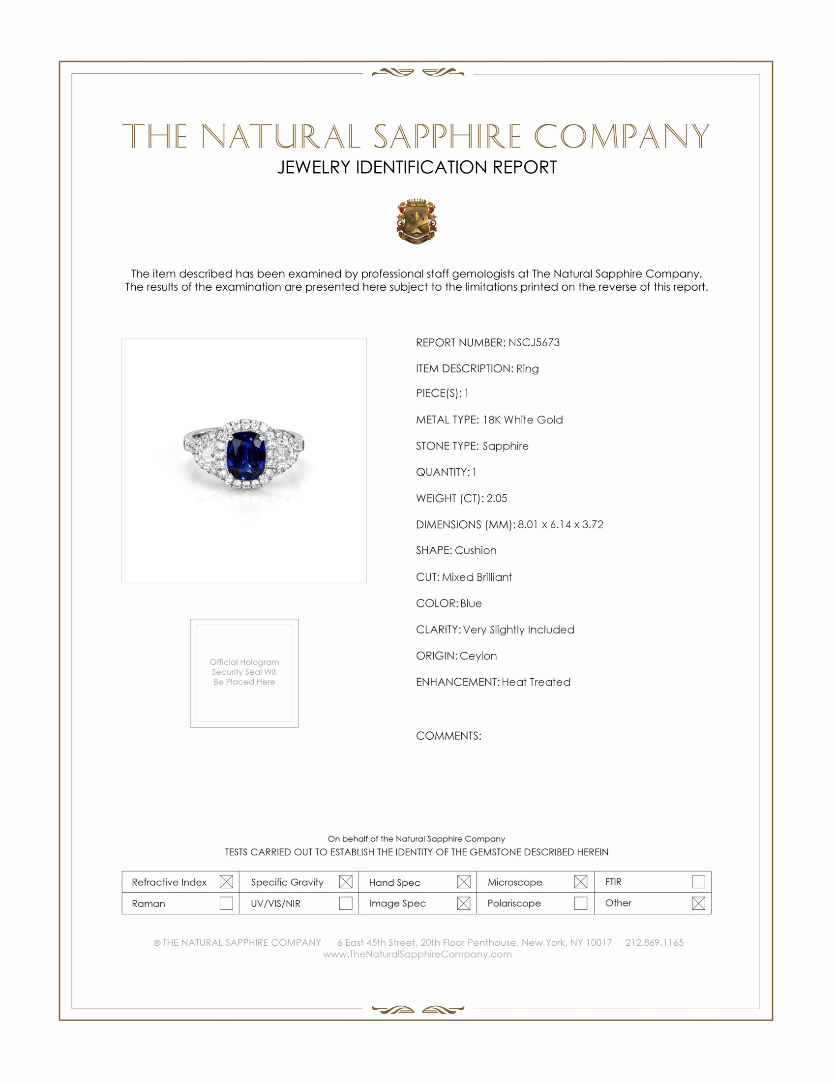 2.05ct Blue Sapphire Ring Certification