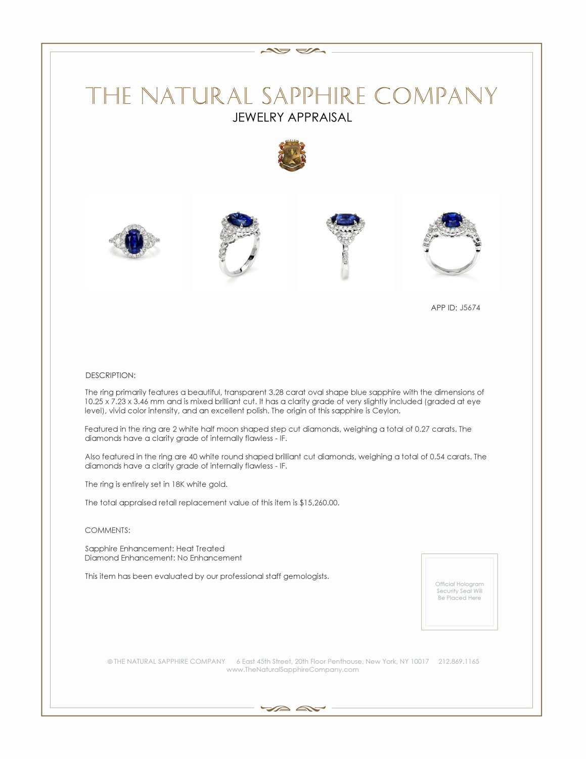 3.28ct Blue Sapphire Ring Certification 2