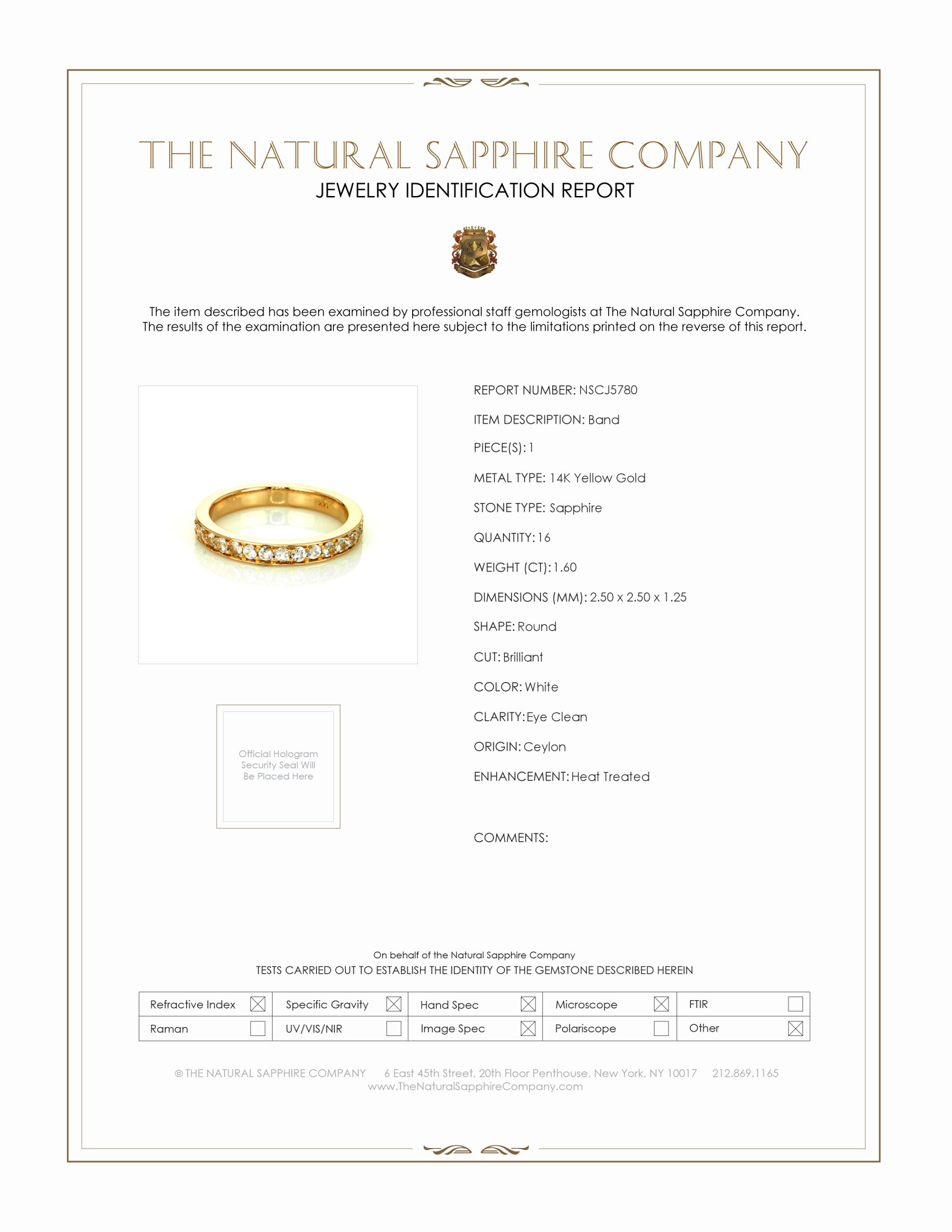 1.60ct White Sapphire Band Certification