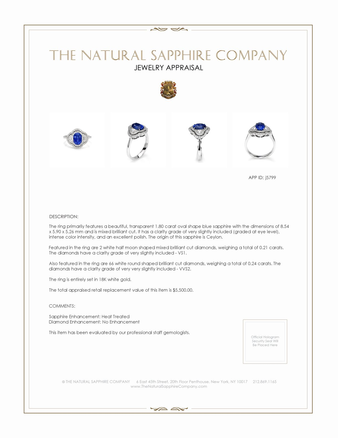 1.80ct Blue Sapphire Ring Certification 2