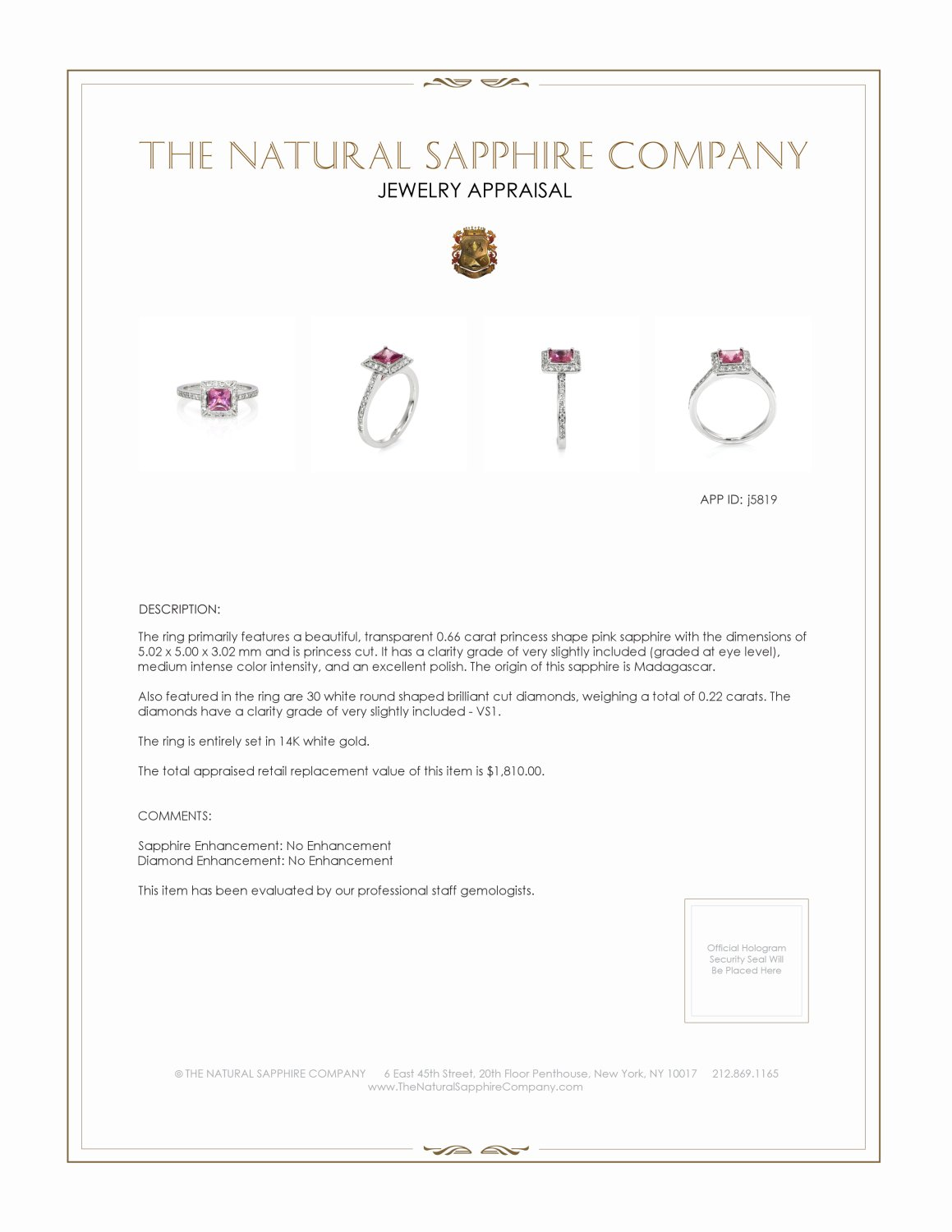 0.66ct Pink Sapphire Ring Certification 2