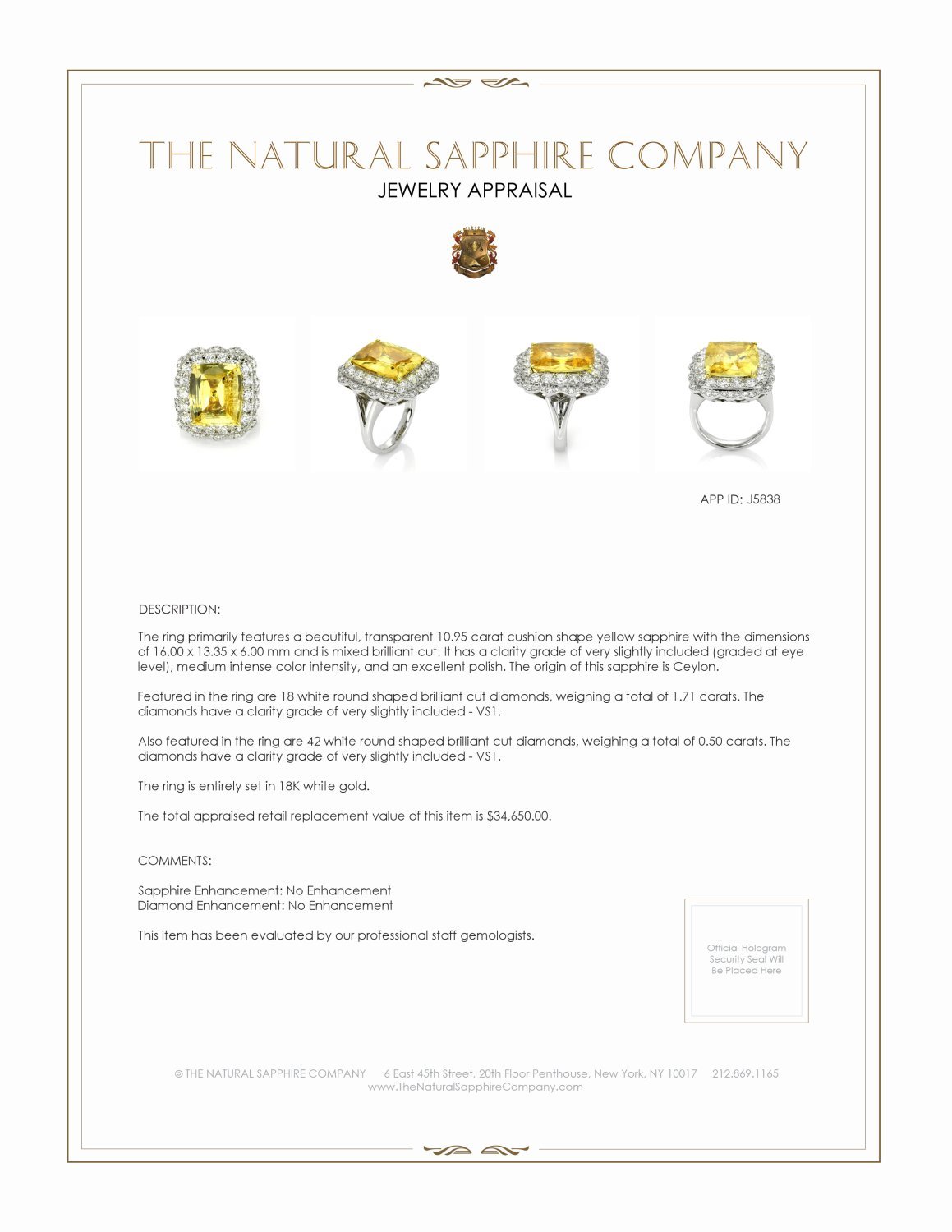 10.95ct Yellow Sapphire Ring Certification 3
