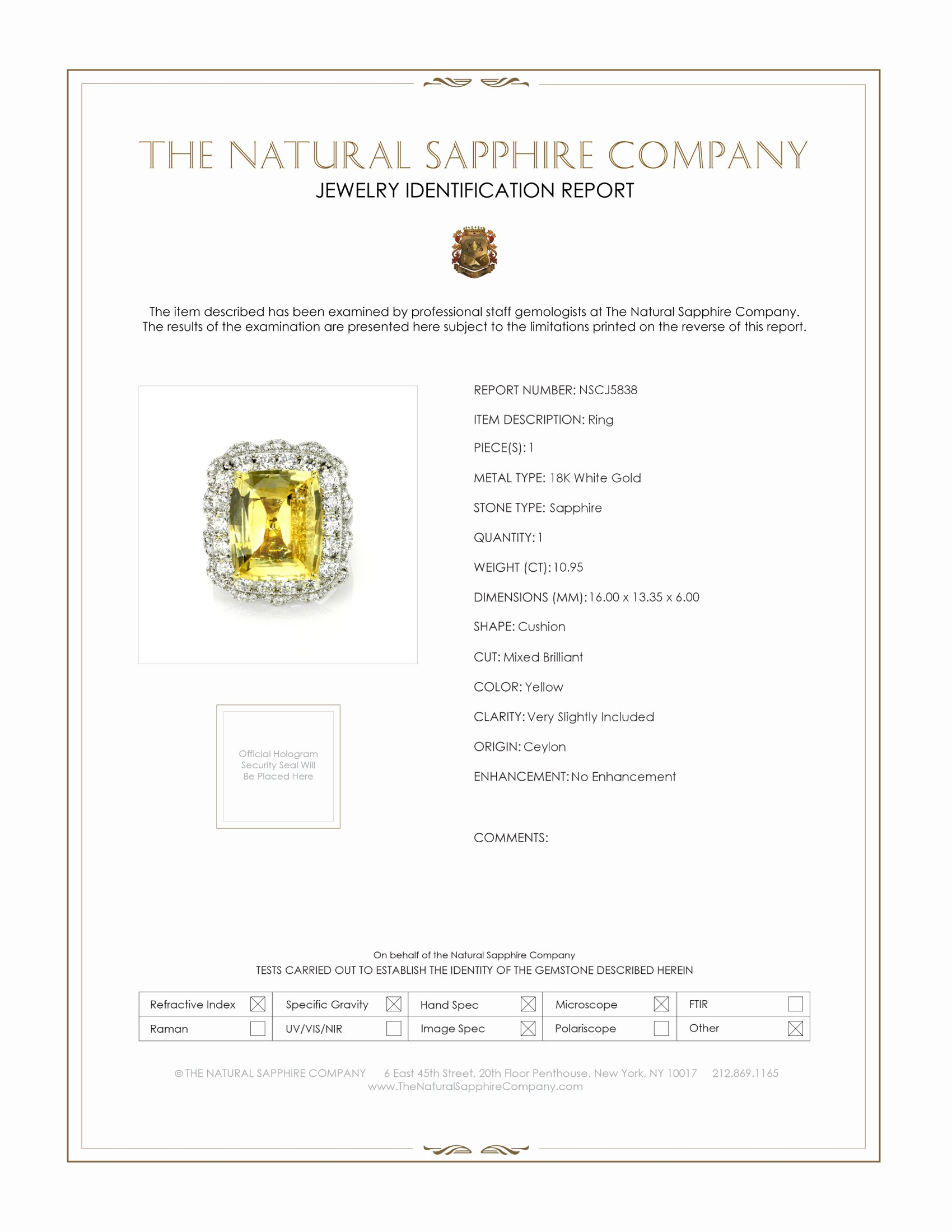 10.95ct Yellow Sapphire Ring Certification