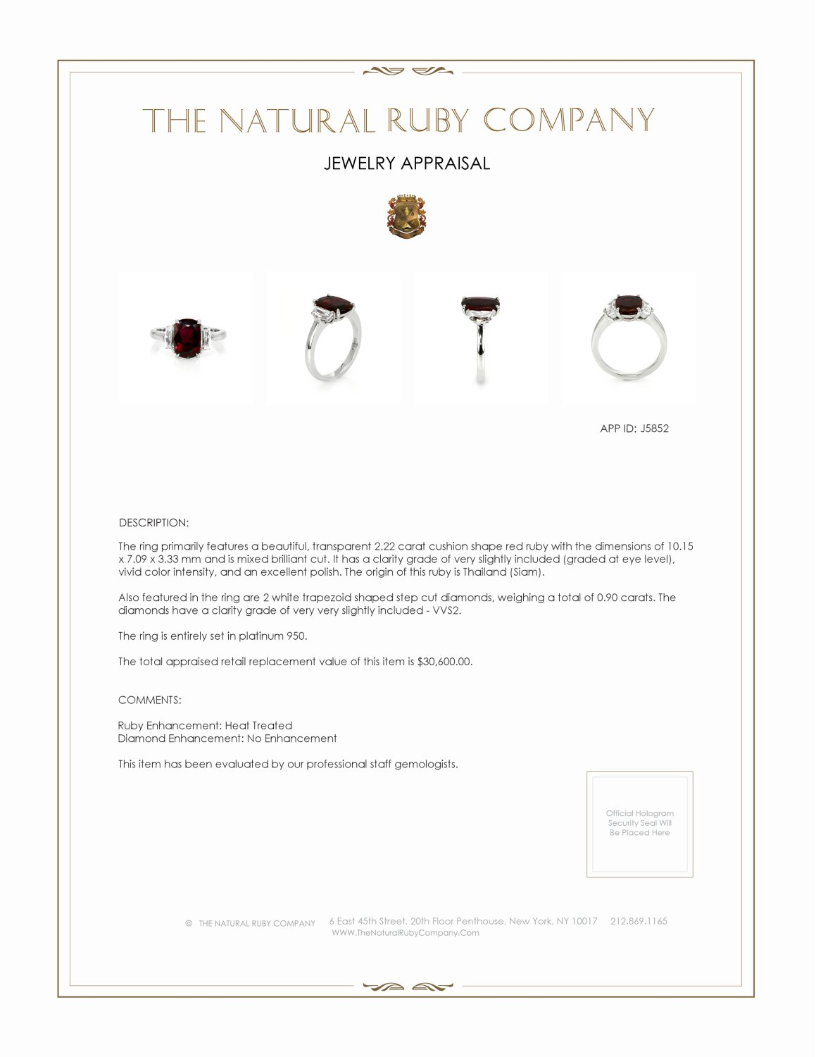 2.22ct Ruby Ring Certification 3