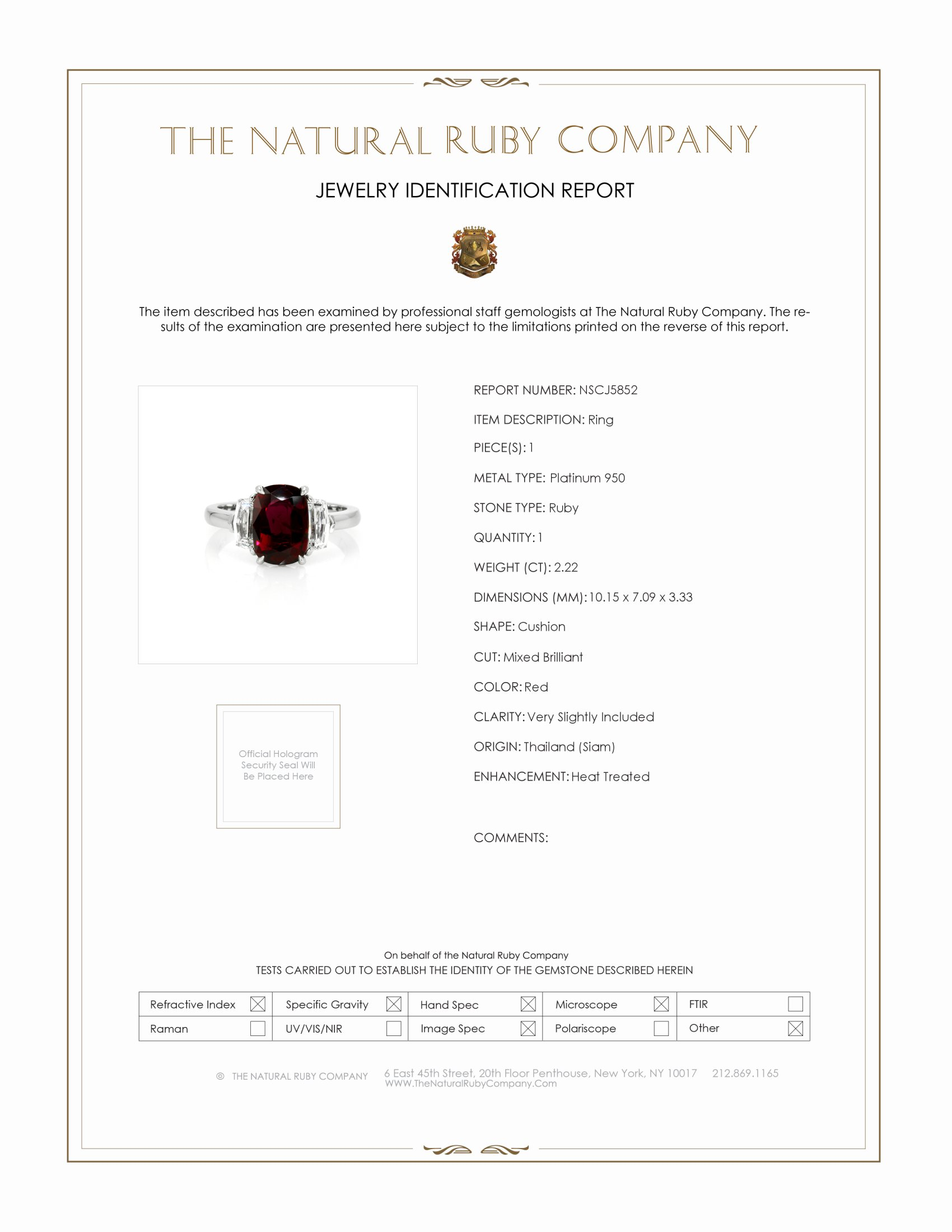 2.22ct Ruby Ring Certification
