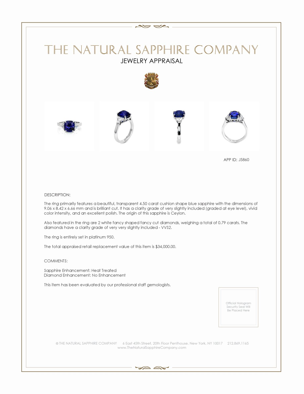 4.50ct Blue Sapphire Ring Certification 3